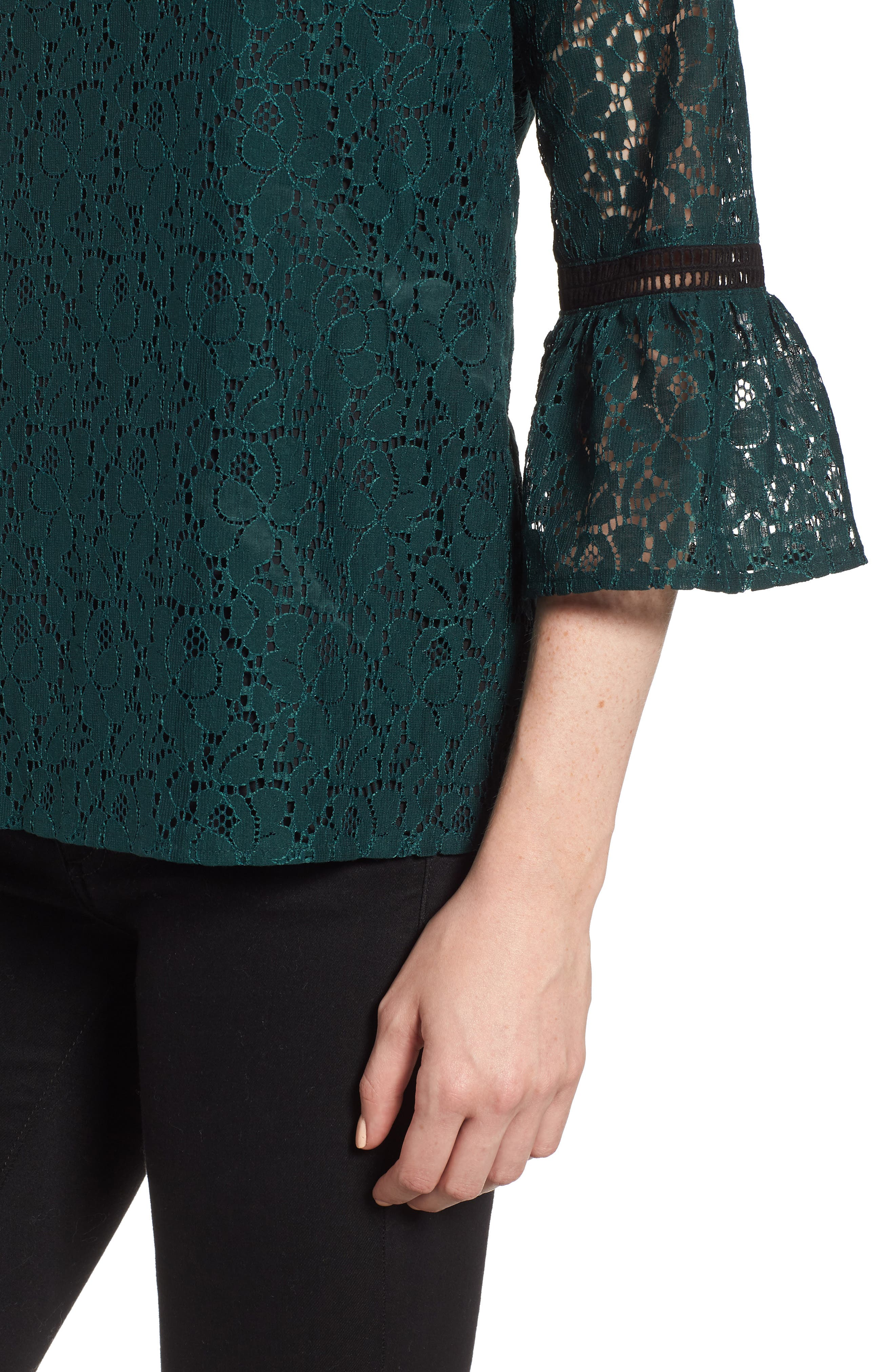 x Glam Squad Erin Allover Lace Bell Sleeve Top,                             Alternate thumbnail 5, color,                             GREEN