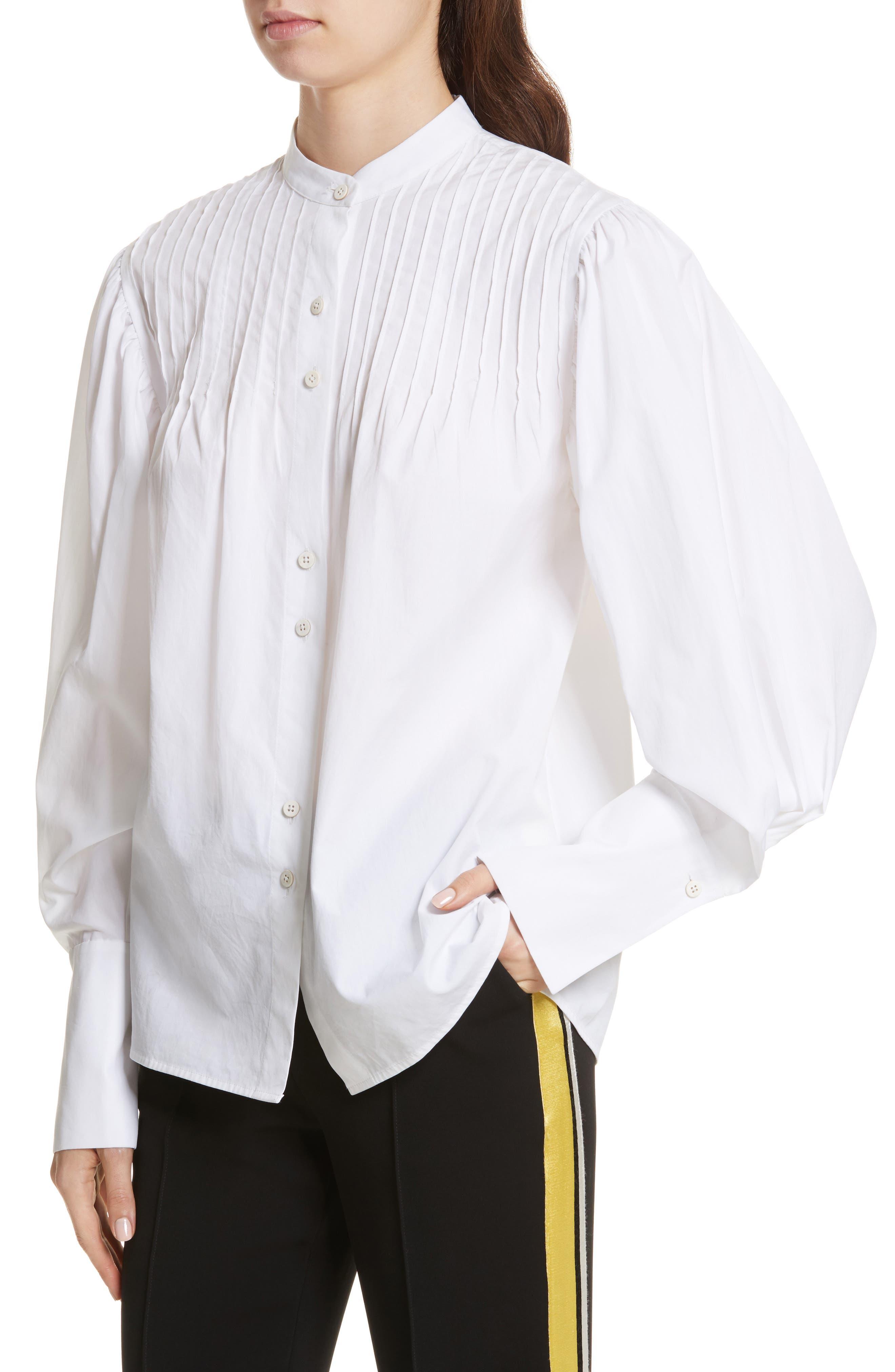 Diane von Furstenberg Pintuck Cotton Blouse,                             Alternate thumbnail 4, color,                             100