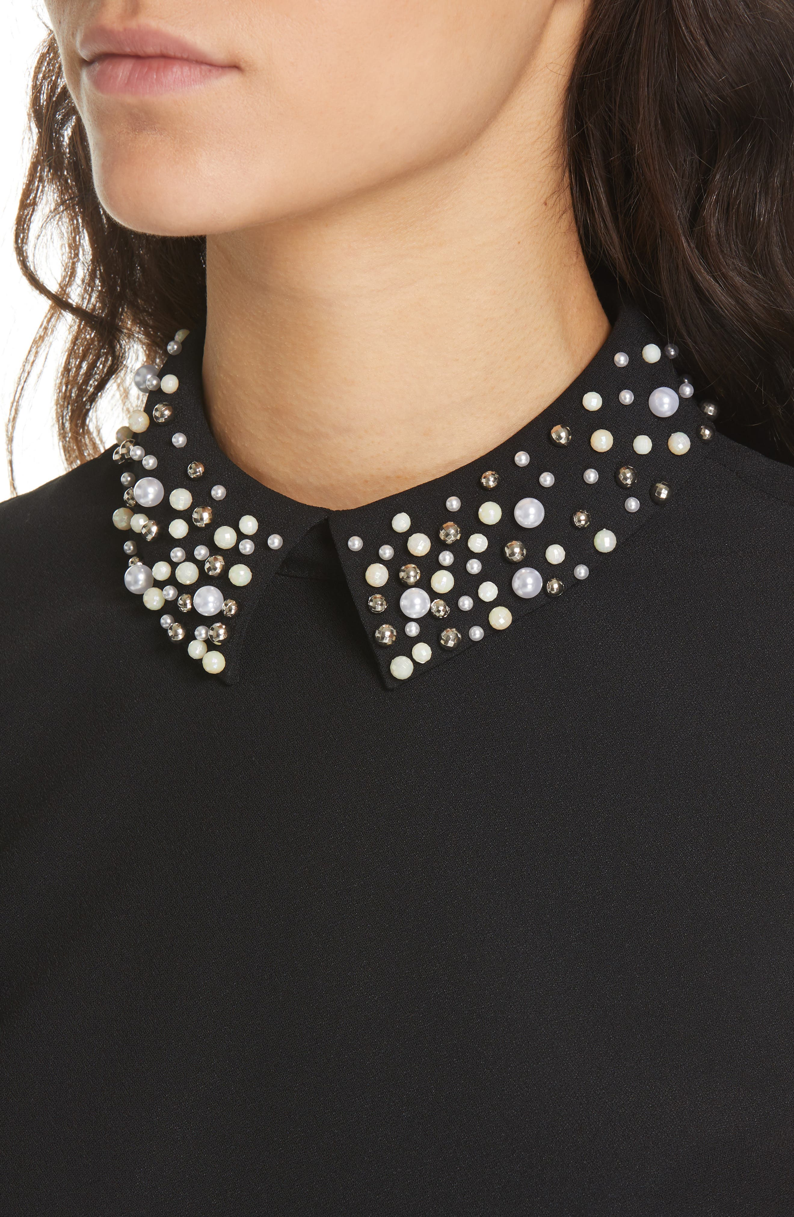 Jaylen Embellished Collar Top,                             Alternate thumbnail 4, color,                             BLACK