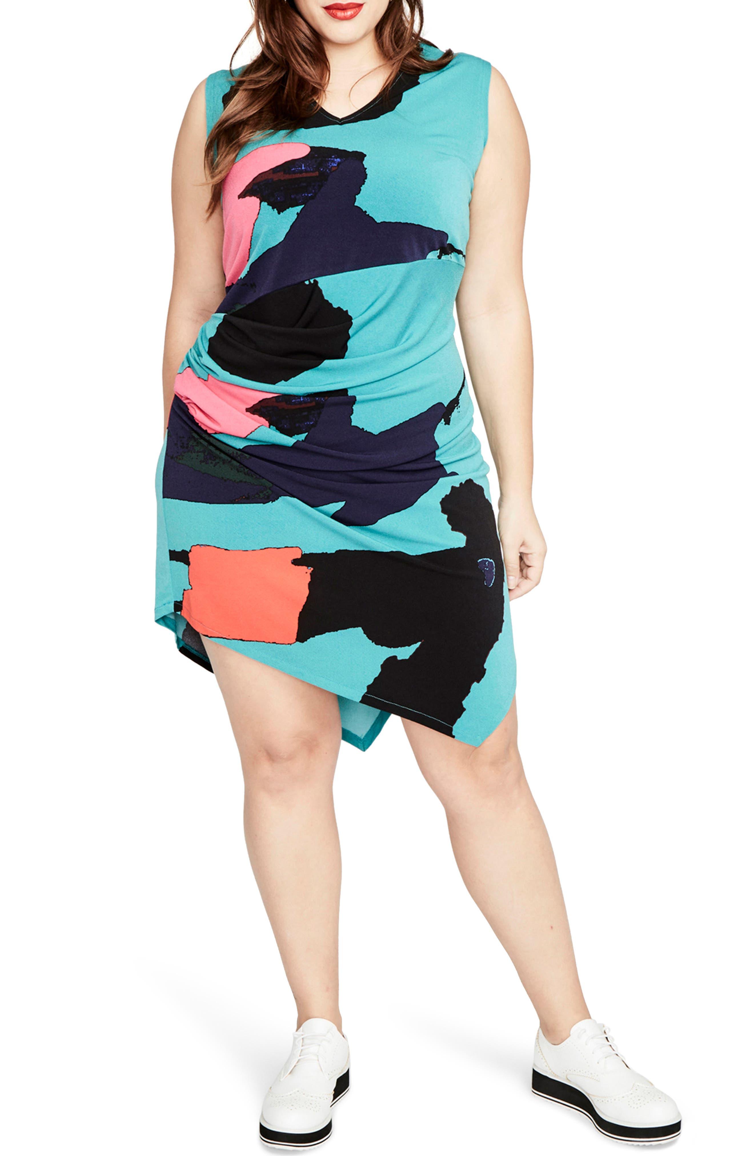 RACHEL BY Rachel Roy Abstract Print Asymmetrical Draped Dress,                         Main,                         color, 314