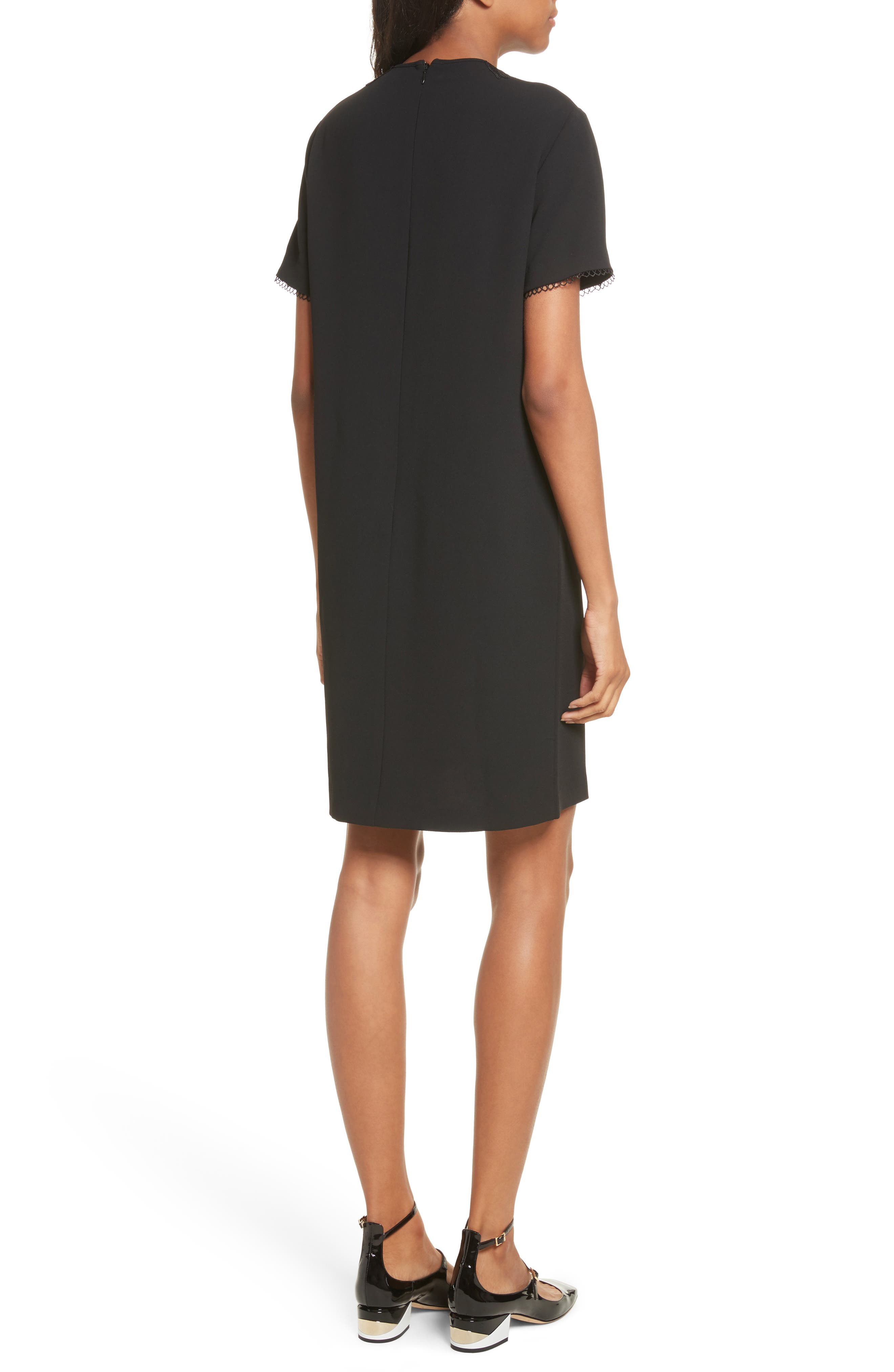 Embellished Crepe Dress,                             Alternate thumbnail 2, color,                             001