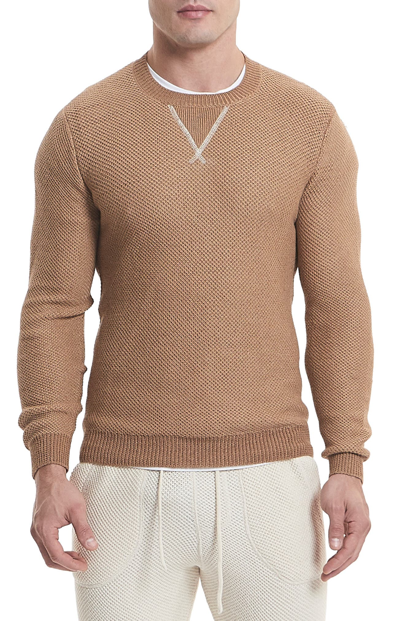 GOODLIFE Slim Fit Crewneck Sweater in Whey