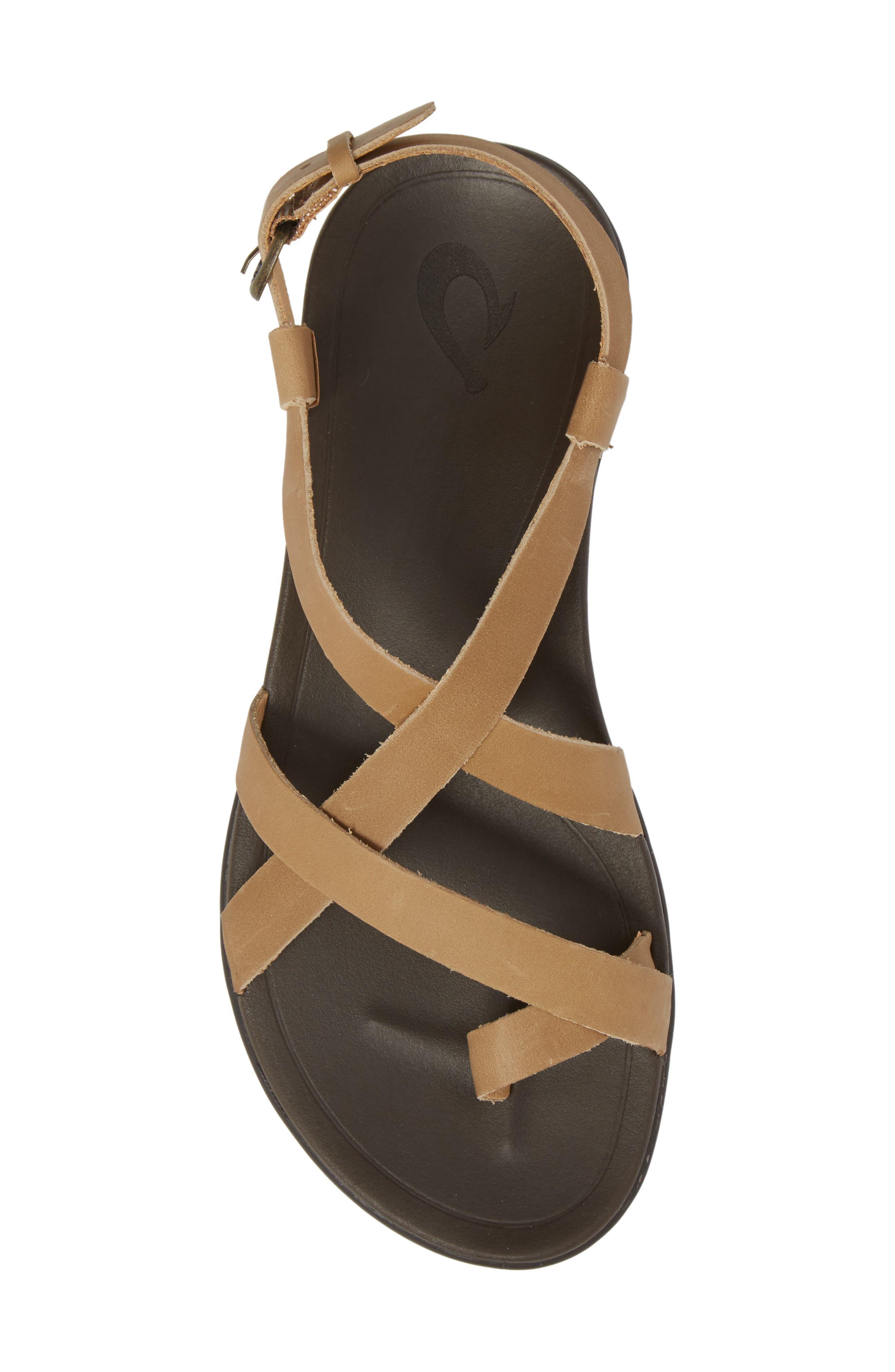 'Upena' Flat Sandal,                             Alternate thumbnail 5, color,                             GOLDEN SAND/ SAND LEATHER