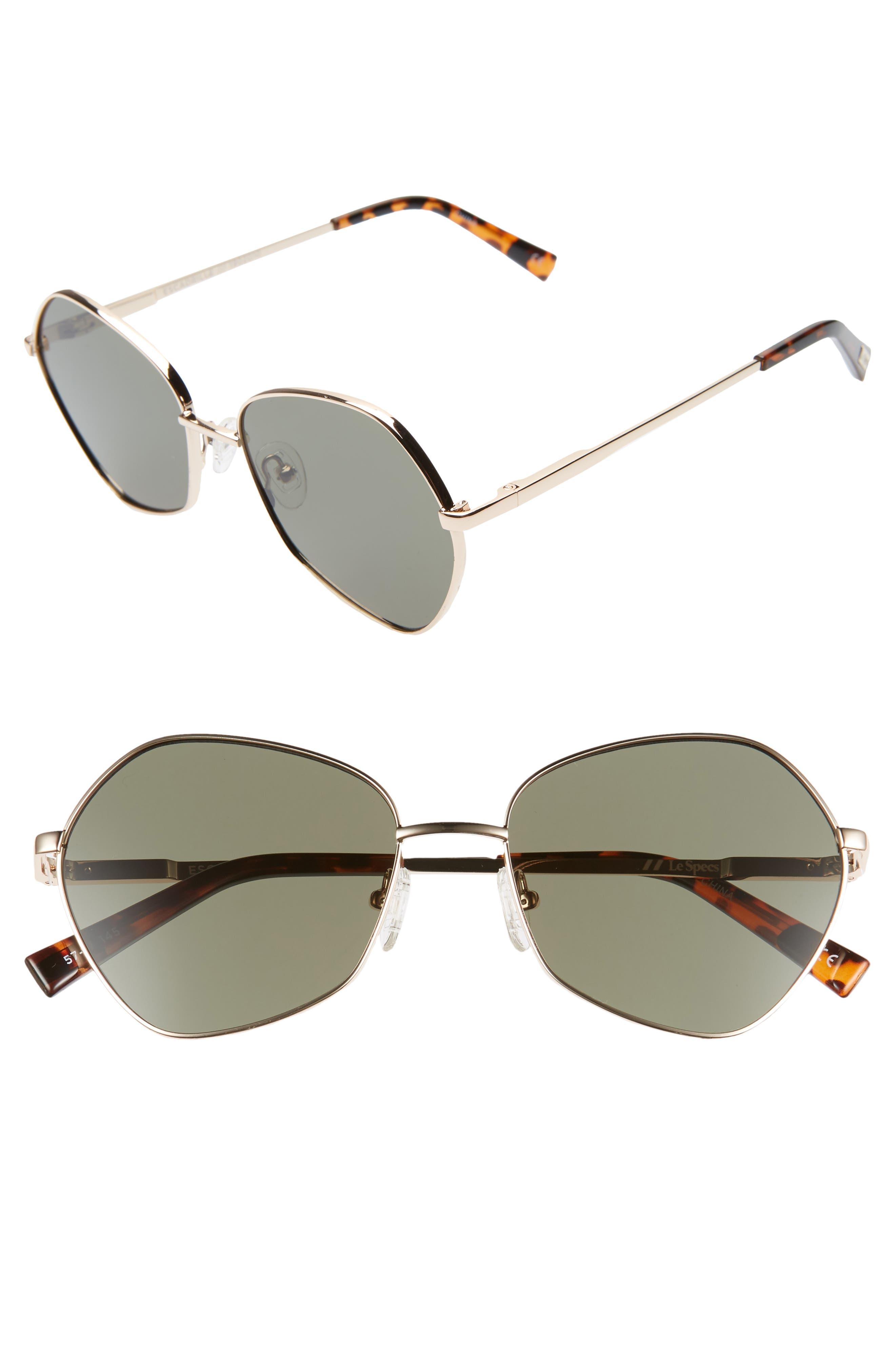 Le Specs Escadrille 57Mm Angular Sunglasses - Bright Gold/ Khaki