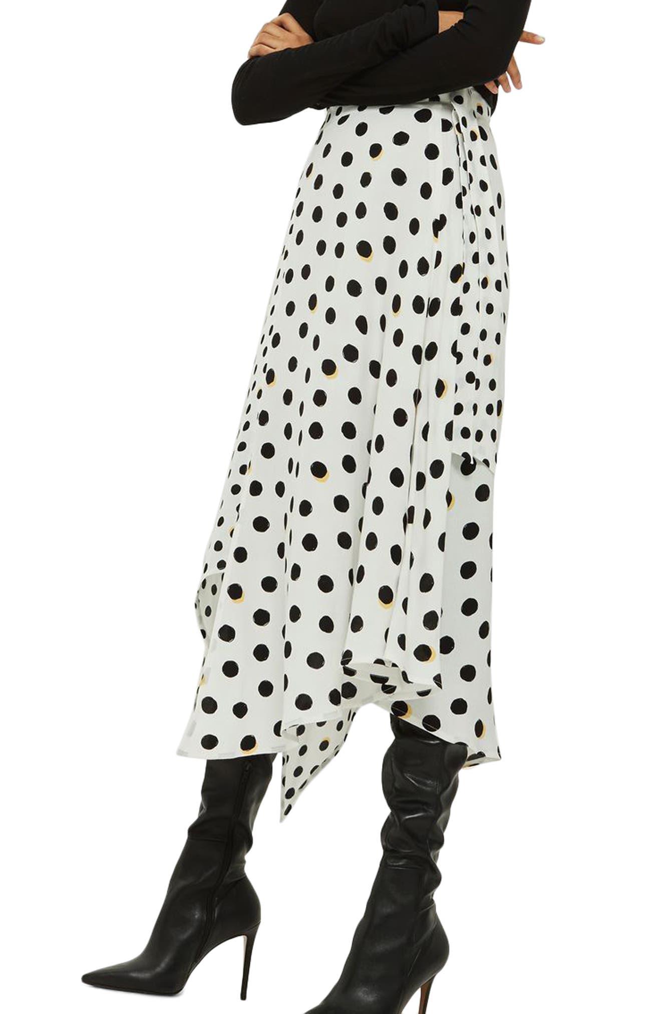 Polka Dot Handkerchief Hem Skirt,                             Main thumbnail 2, color,
