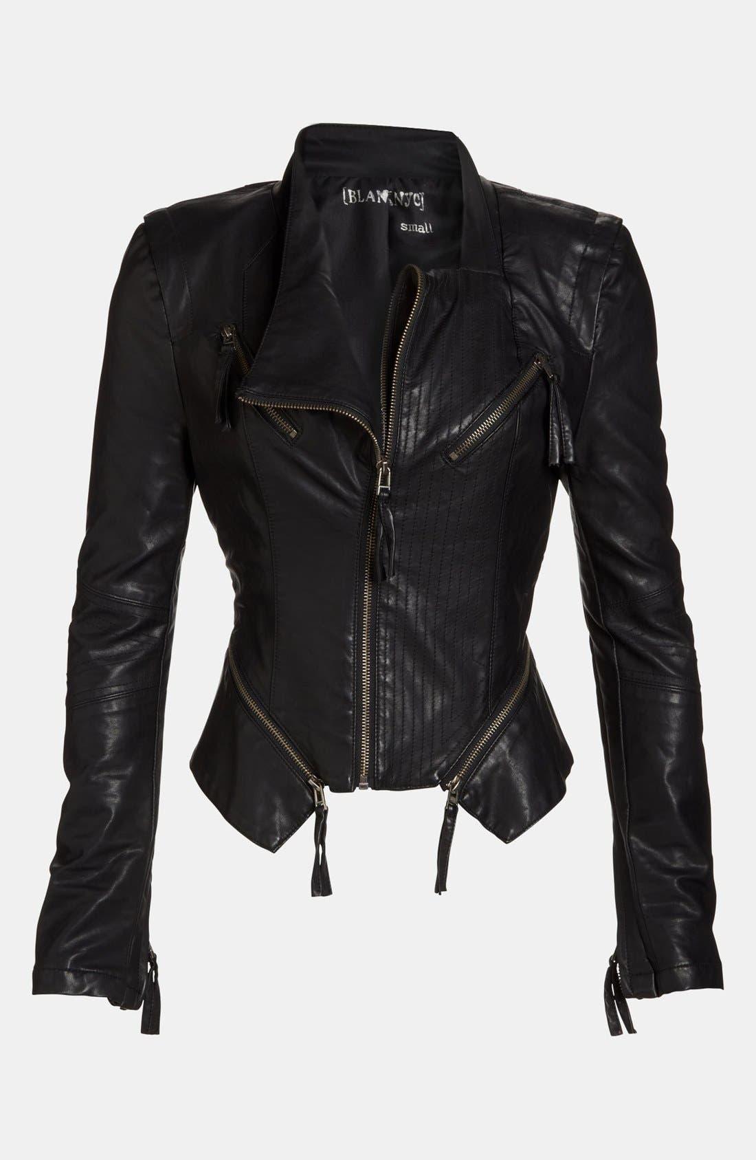 Faux Leather Jacket,                             Main thumbnail 1, color,                             001
