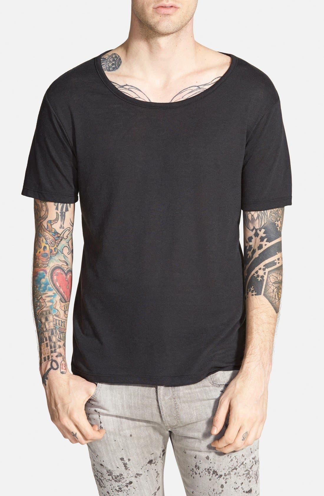 ALTERNATIVE,                             Open Neck T-Shirt,                             Main thumbnail 1, color,                             001