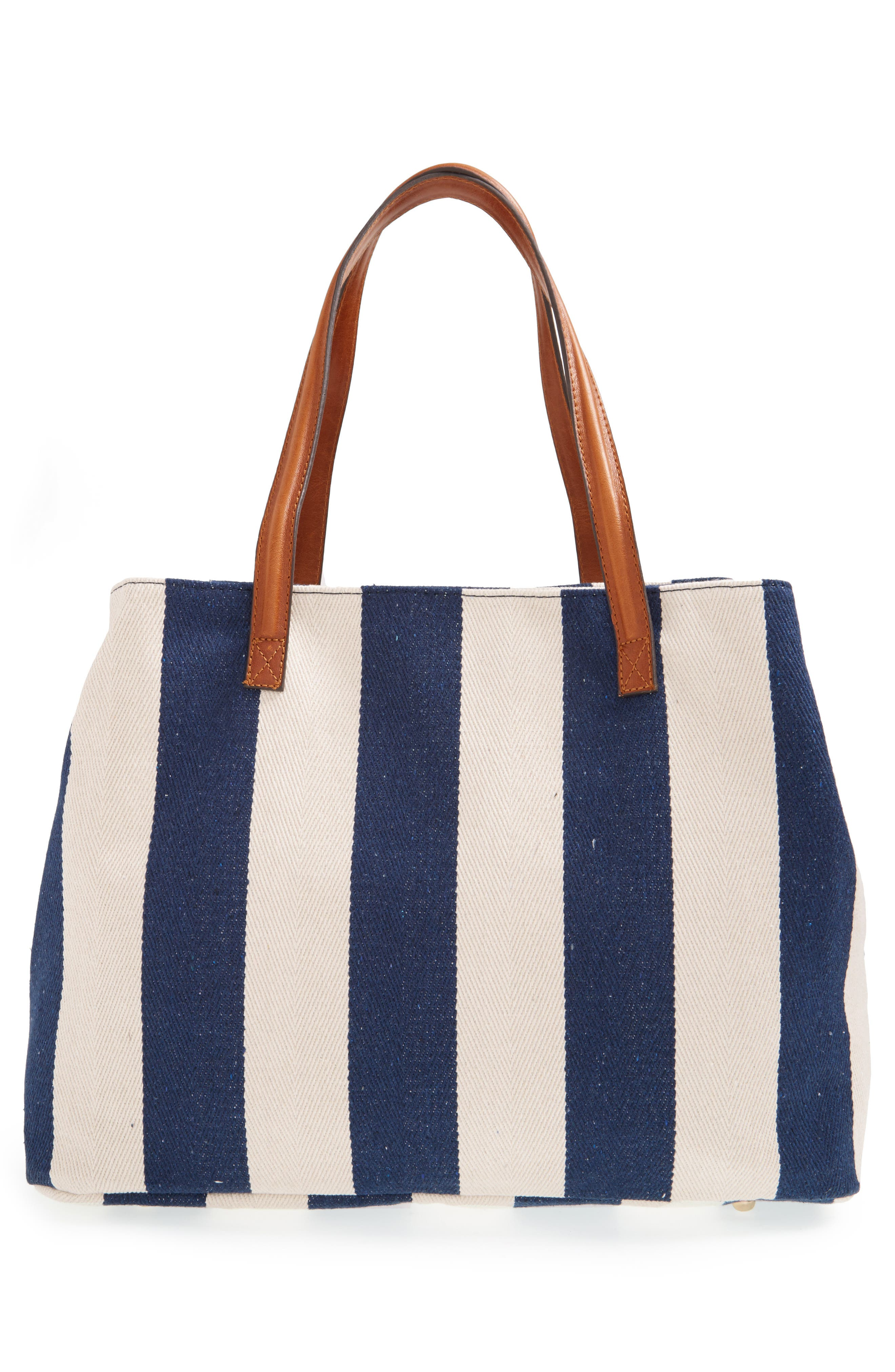 SOLE SOCIETY,                             'Oversize Millie' Stripe Print Tote,                             Alternate thumbnail 3, color,                             NAVY CREAM