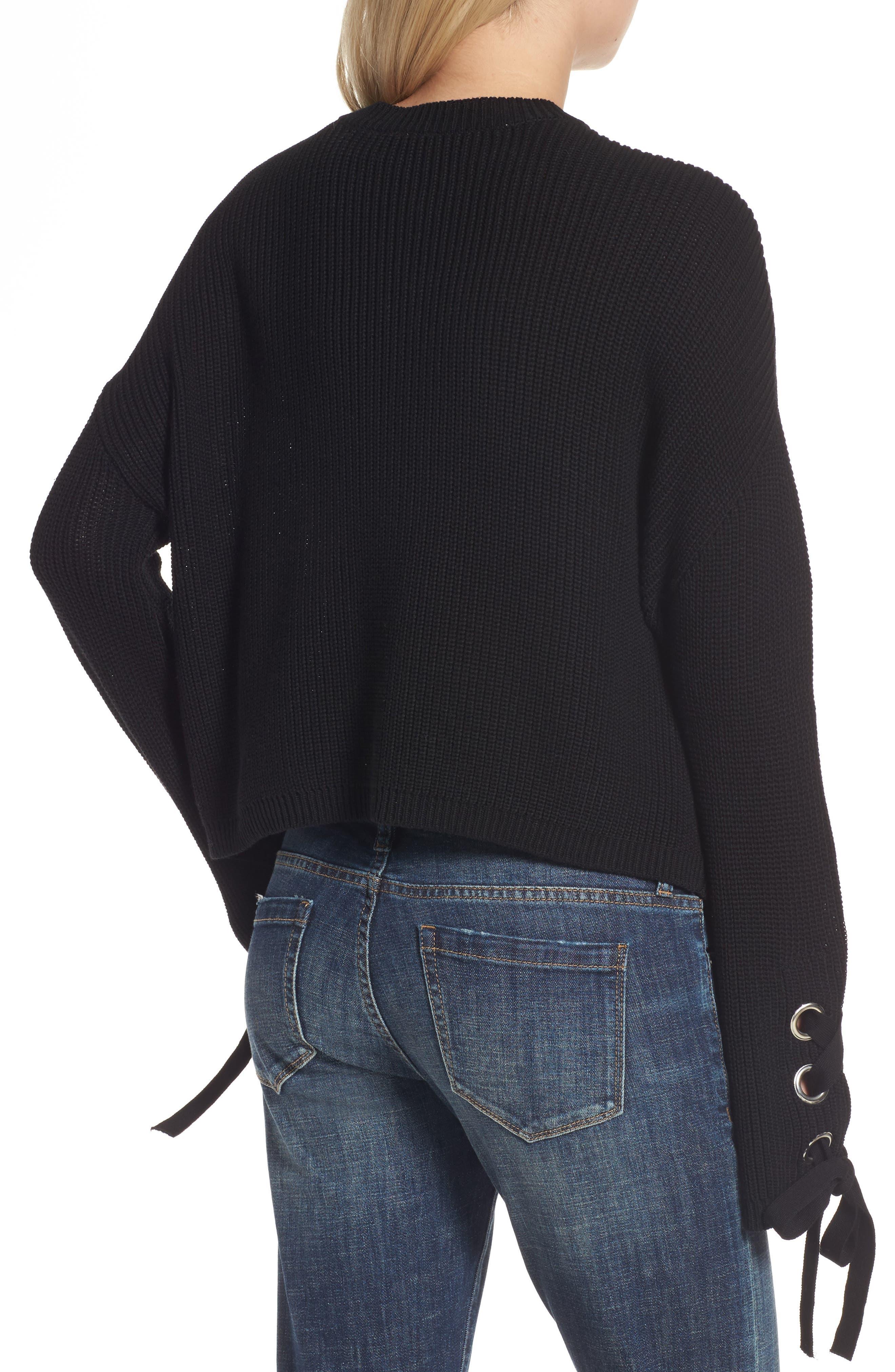 Grommet Sleeve Pullover,                             Alternate thumbnail 2, color,                             001