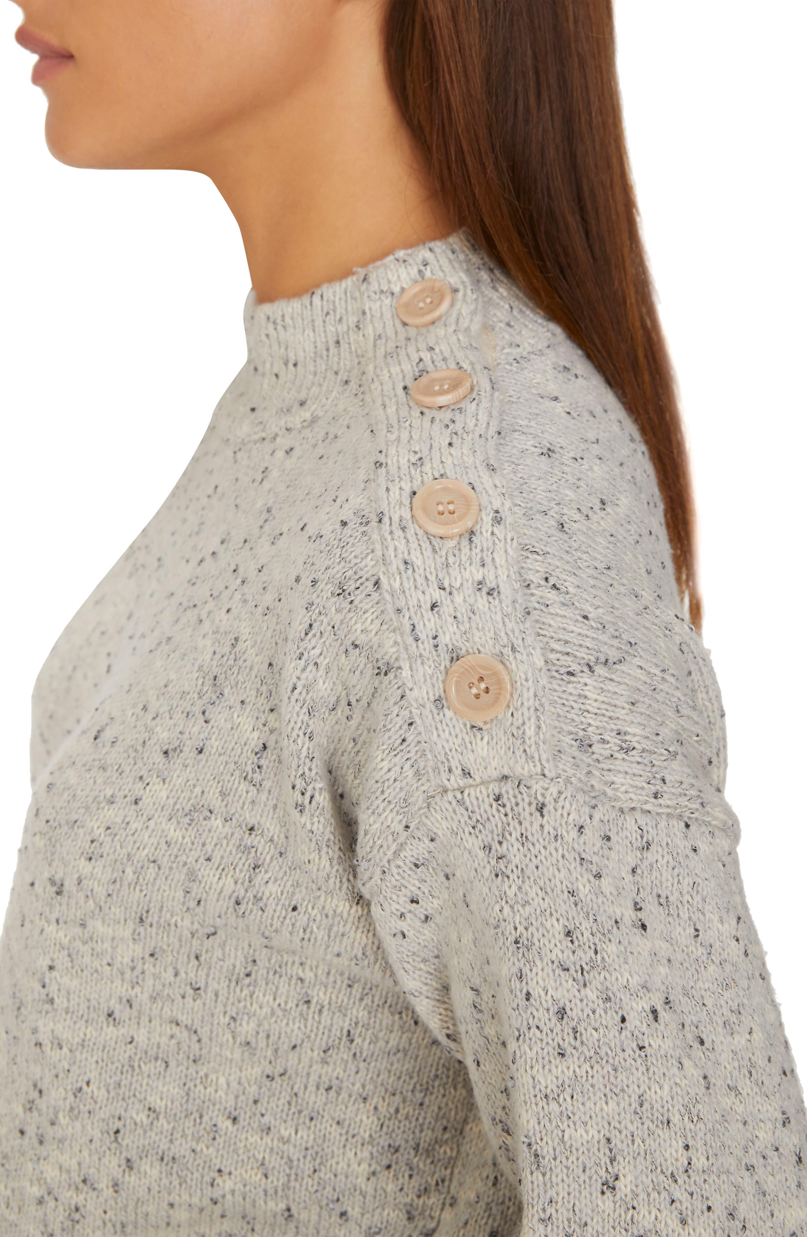 Jasper Button Detail Mock Neck Sweater,                             Alternate thumbnail 4, color,                             HEATHER STERLING