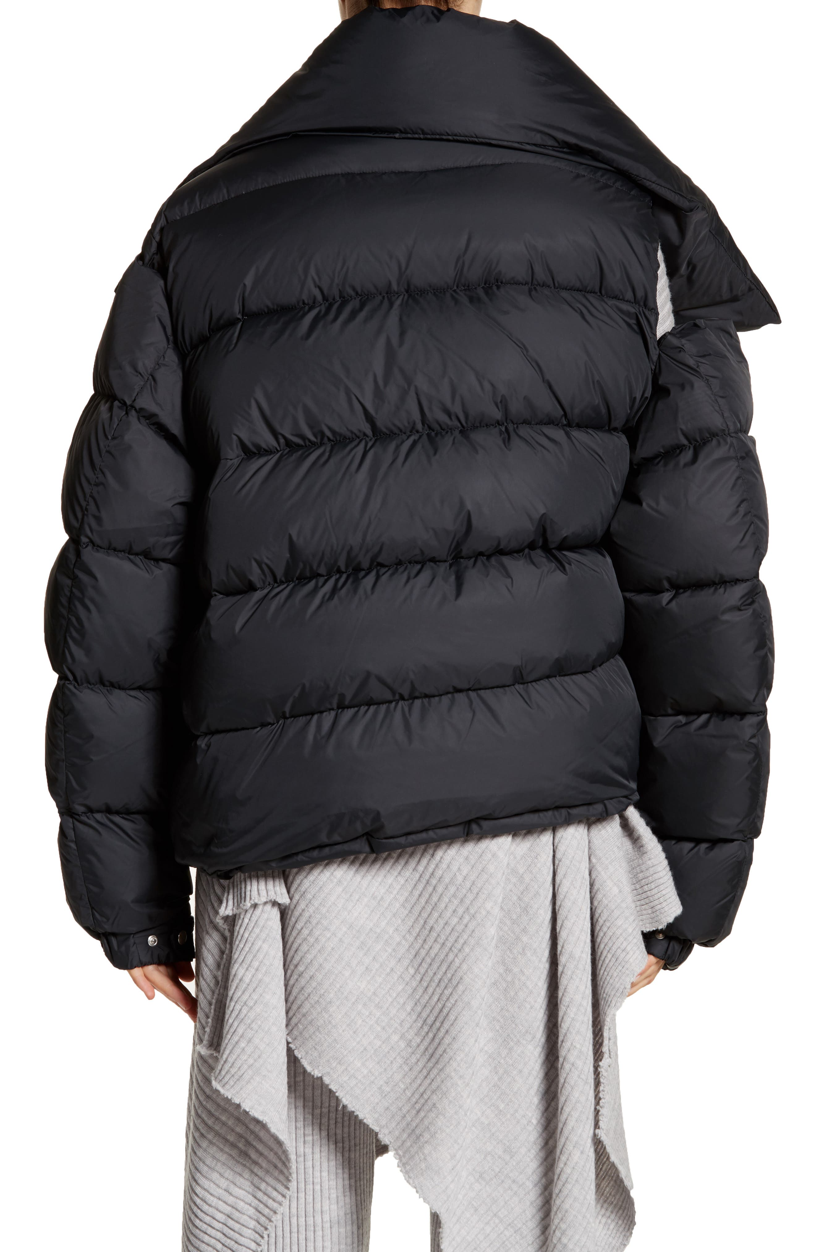 Marques'Almeida Asymmetrical Down Puffer Coat with Safety Pin Closure,                             Alternate thumbnail 2, color,                             001