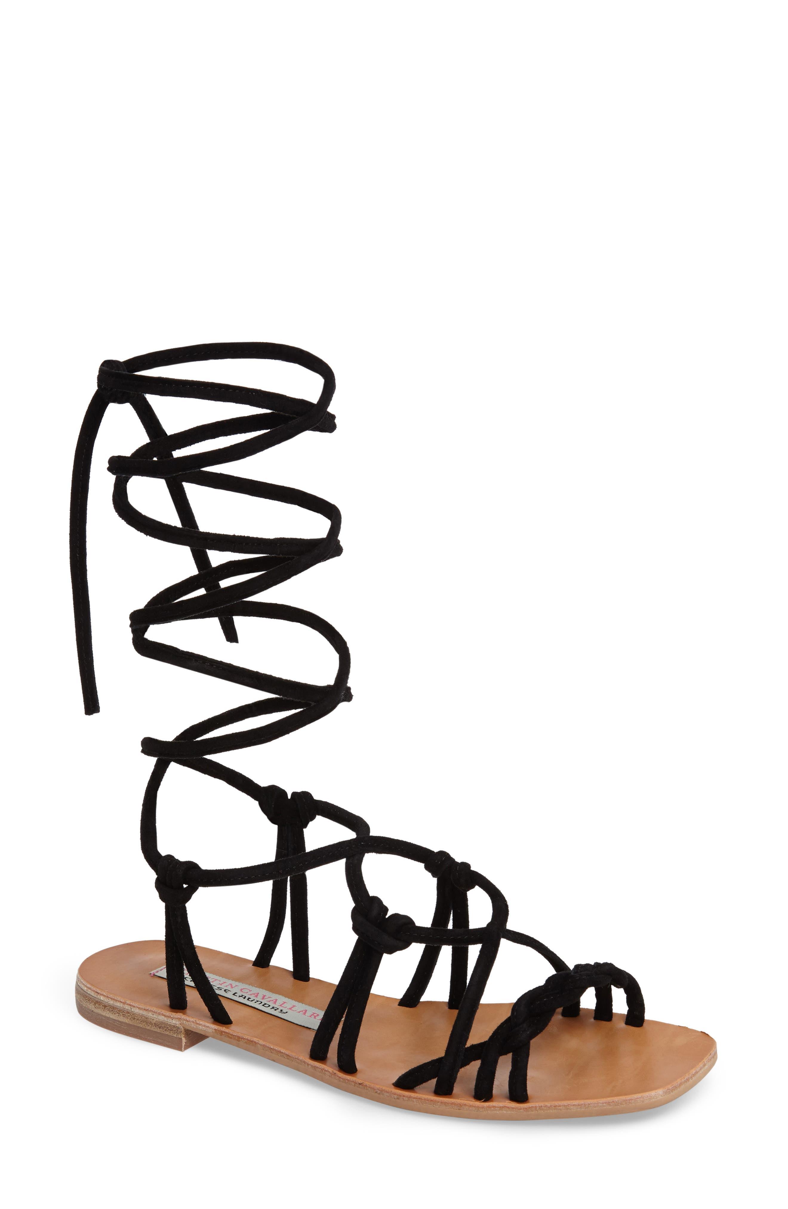 KRISTIN CAVALLARI,                             Tori Knotted Wraparound Sandal,                             Main thumbnail 1, color,                             001