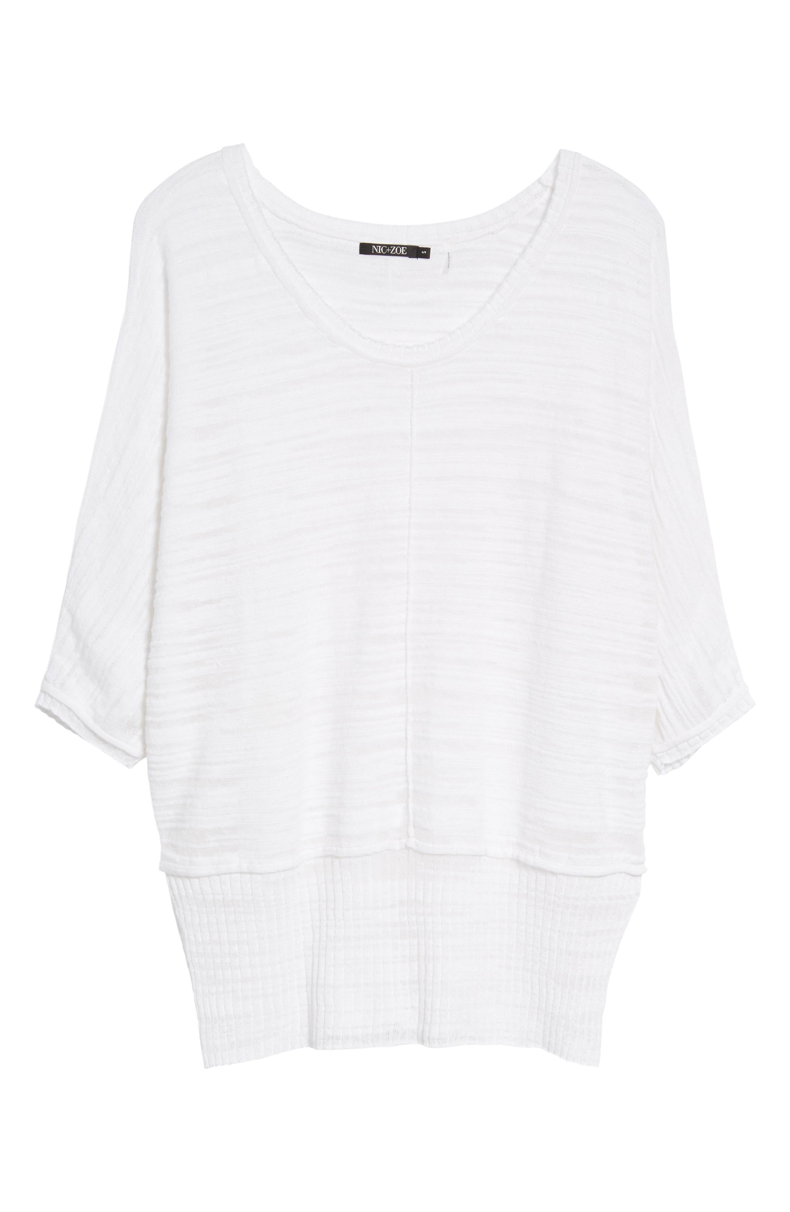 NIC+ZOE,                             Open Breeze Linen Cotton Blend Sweater,                             Alternate thumbnail 6, color,                             123