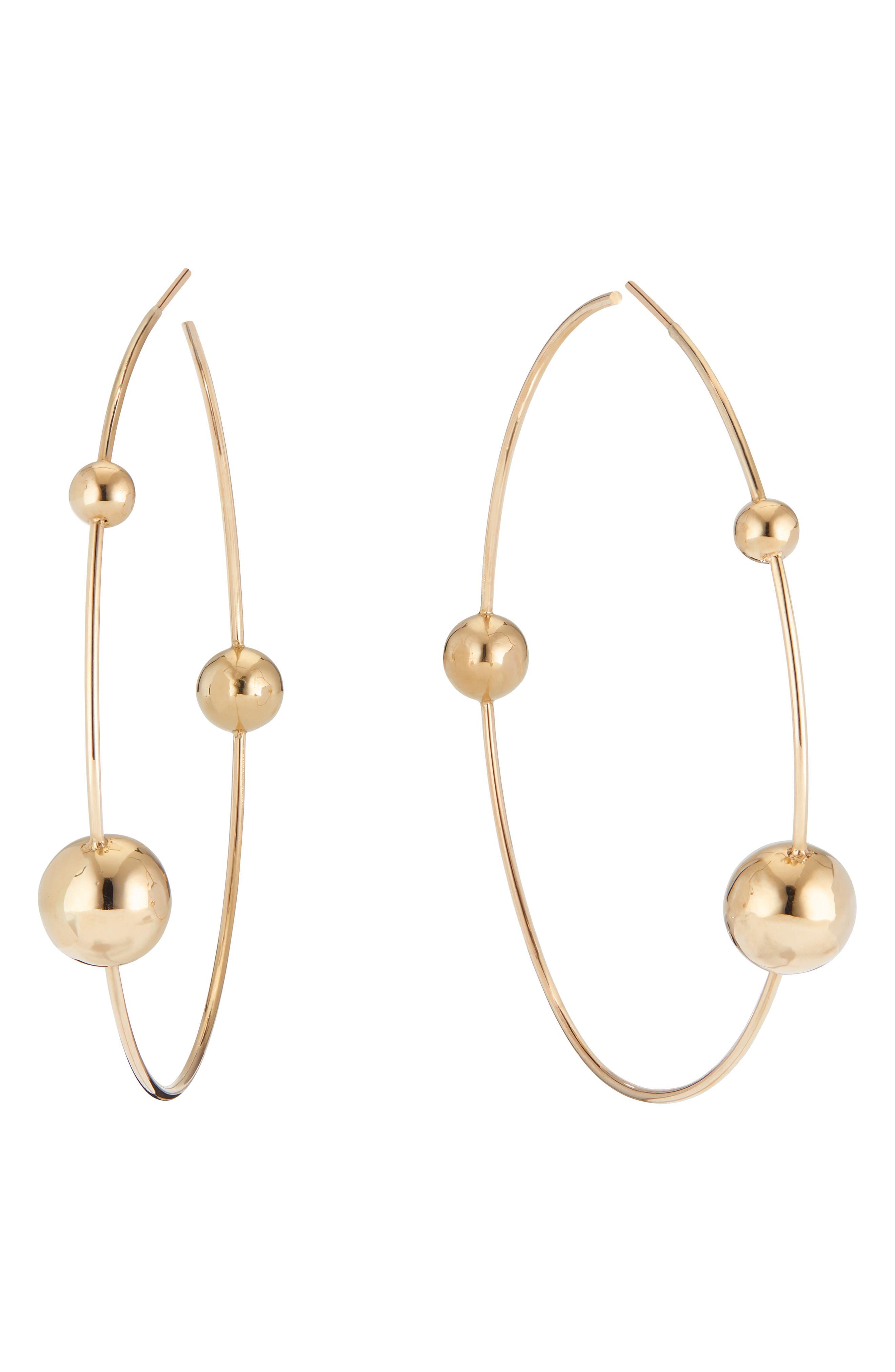LANA Hollow Ball Wire Hoop Earrings in Gold