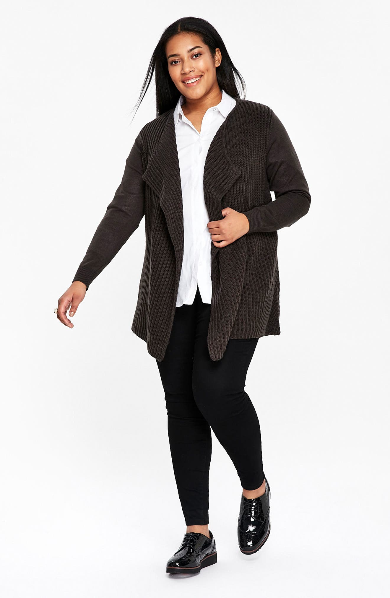Ribbed Waterfall Cardigan,                             Alternate thumbnail 4, color,                             020