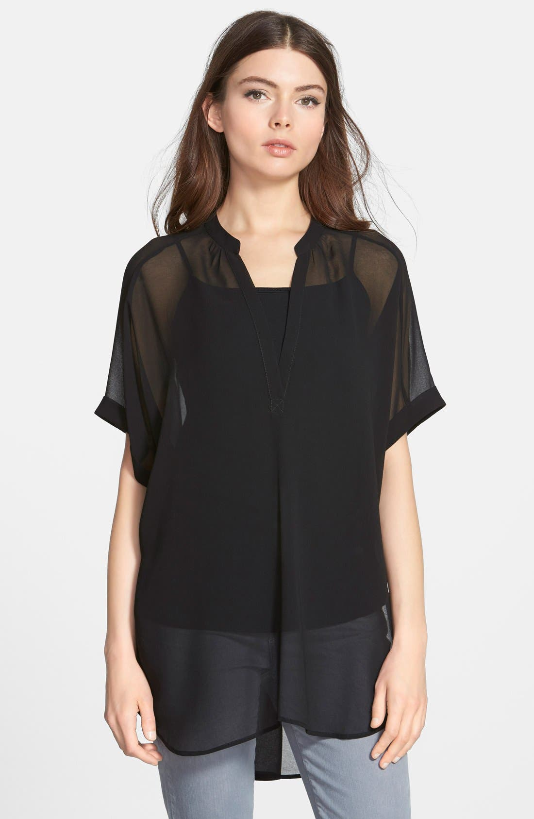 Short Sleeve Sheer Tunic Top, Main, color, 001