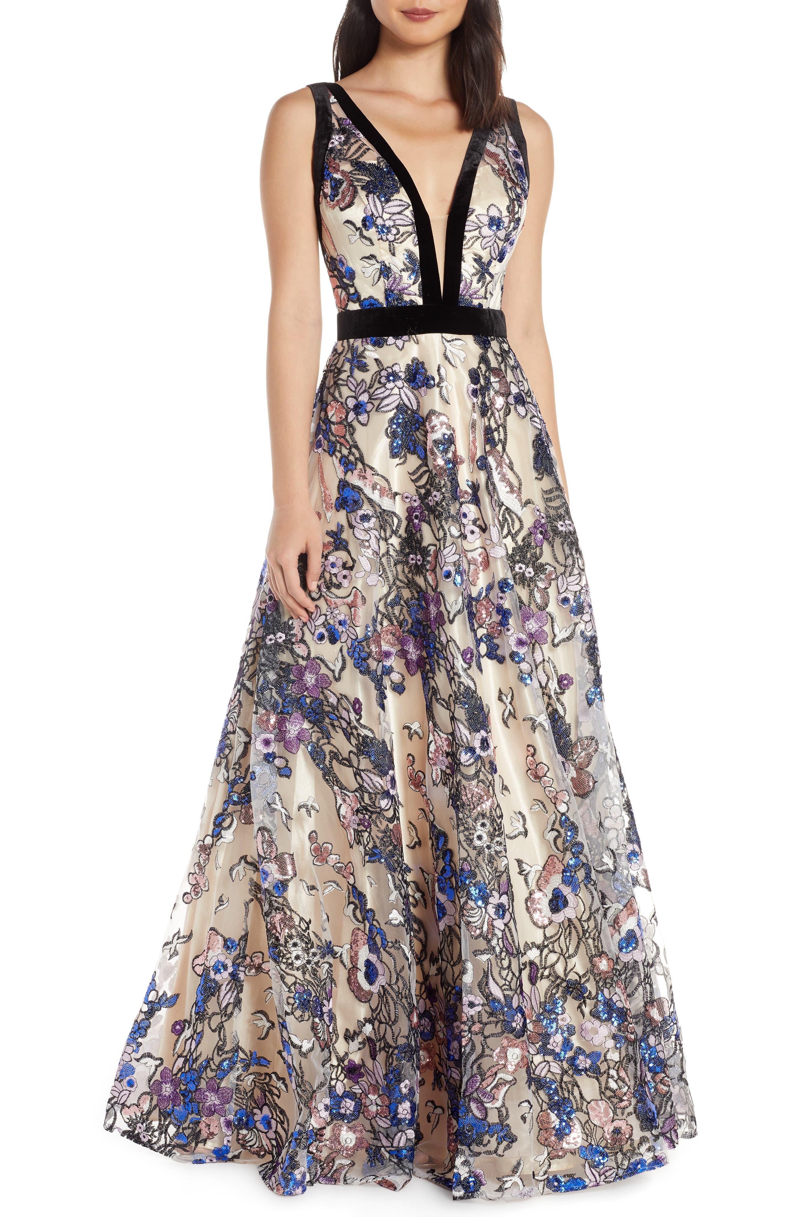 MAC Duggal Plunging V-Neck Floral Sequin Prom Dress, Beige