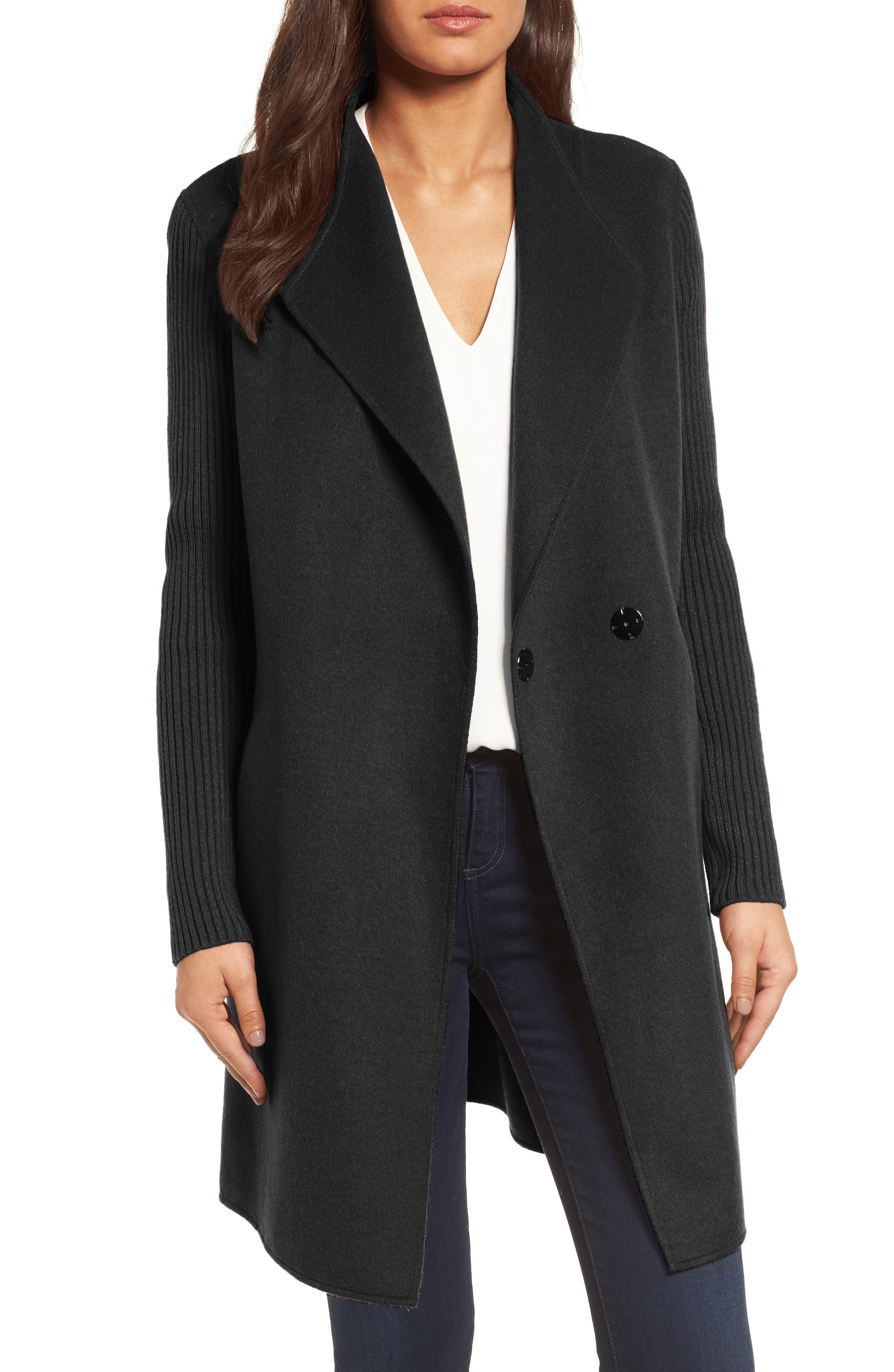 petite coat open front black