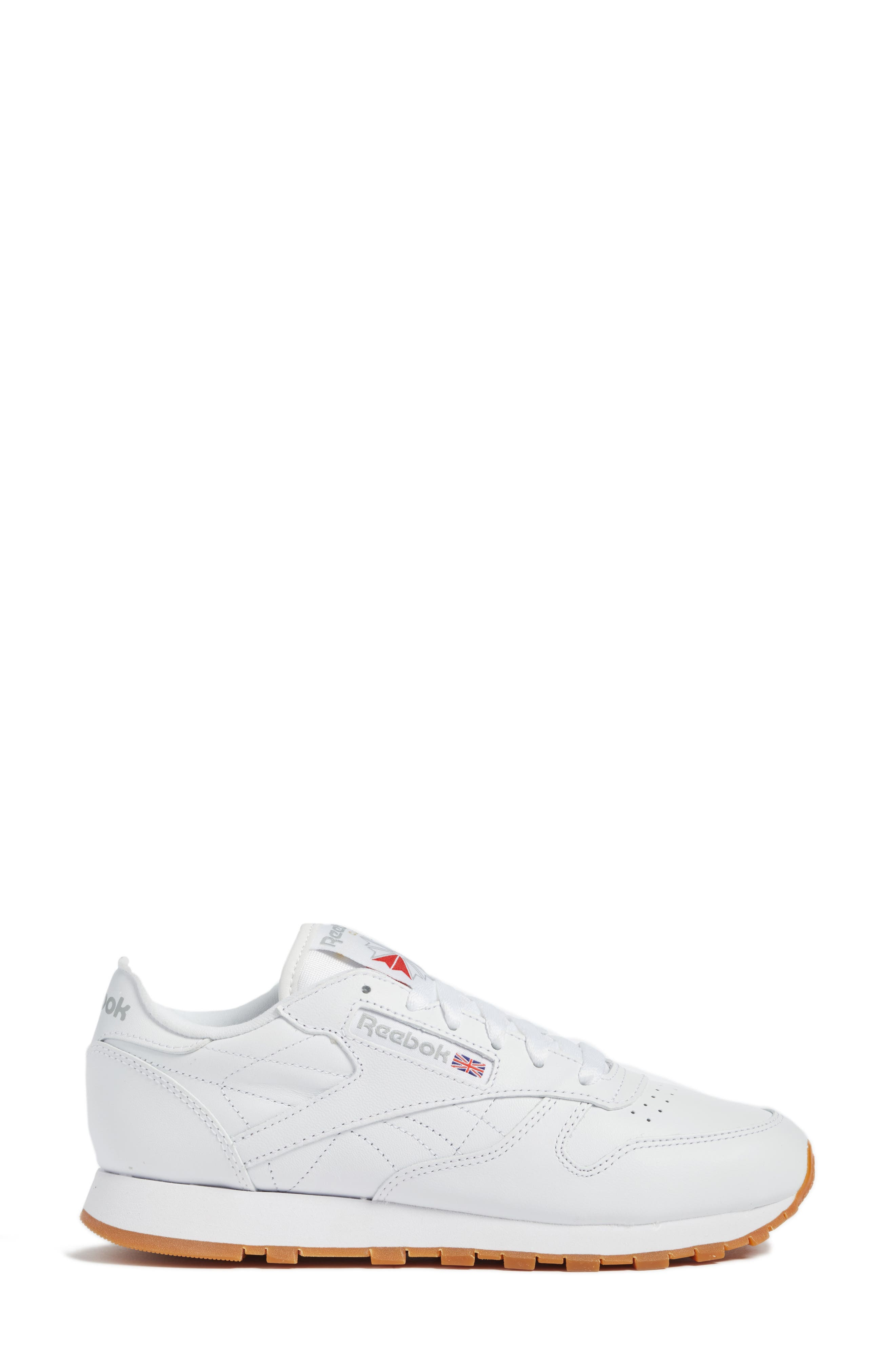 REEBOK,                             Classic Leather Sneaker,                             Alternate thumbnail 3, color,                             US-WHITE/ GUM