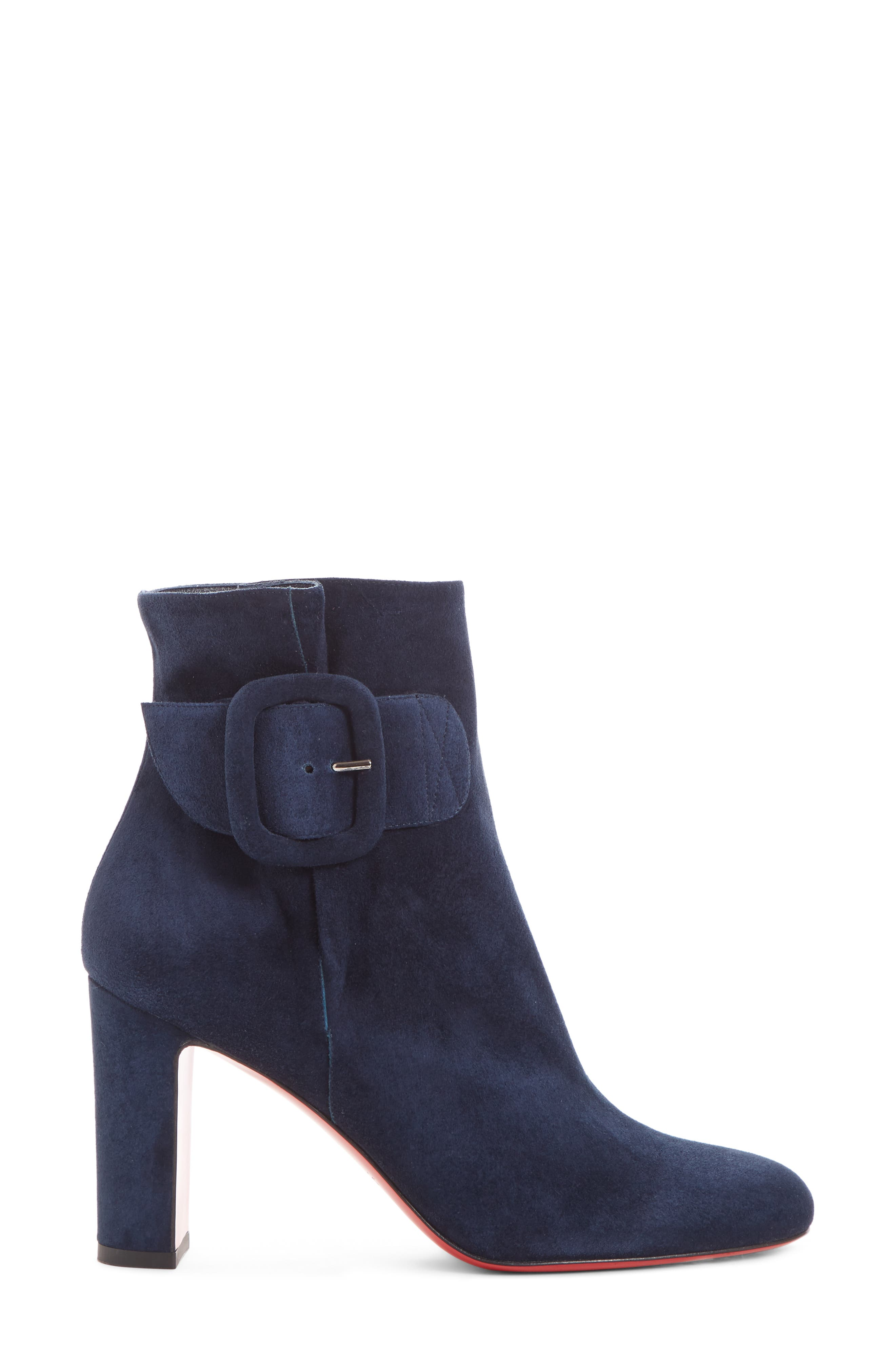 Tres Olivia Buckle Bootie,                             Alternate thumbnail 3, color,                             MARINE SUEDE