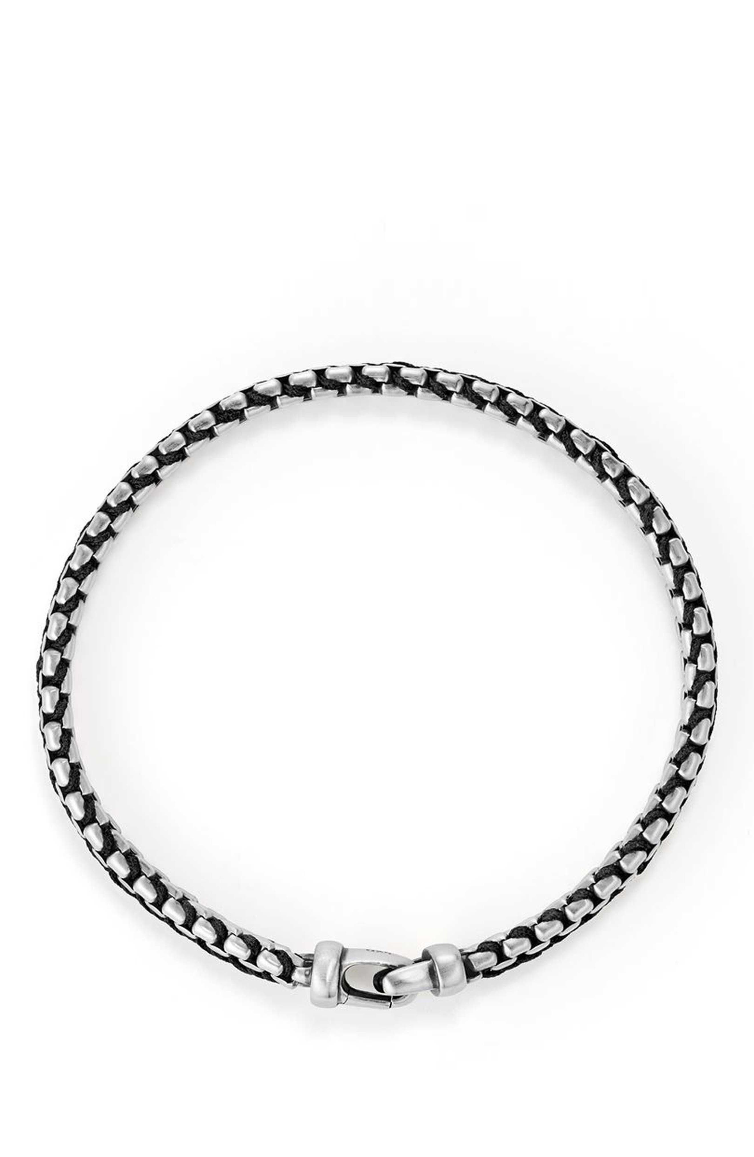 Woven Box Chain Bracelet,                             Alternate thumbnail 2, color,                             BLACK