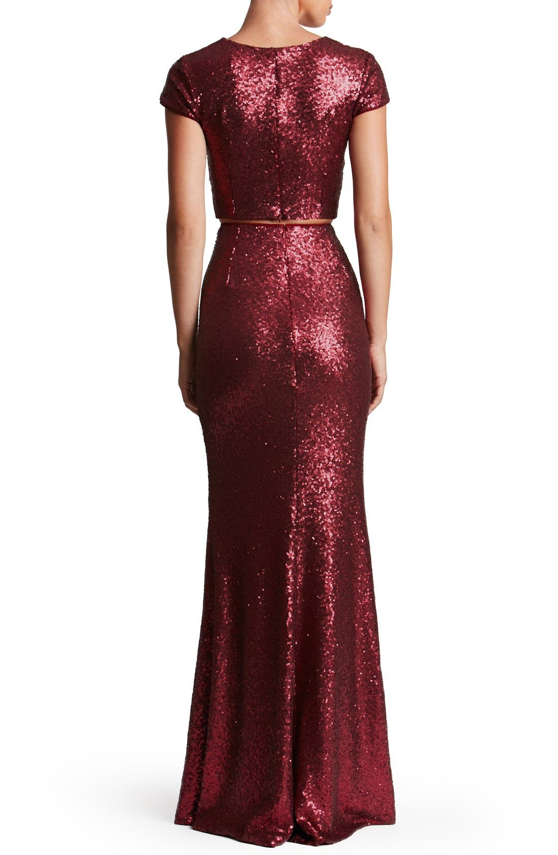 Cara Sequin Two-Piece Gown,                             Alternate thumbnail 8, color,