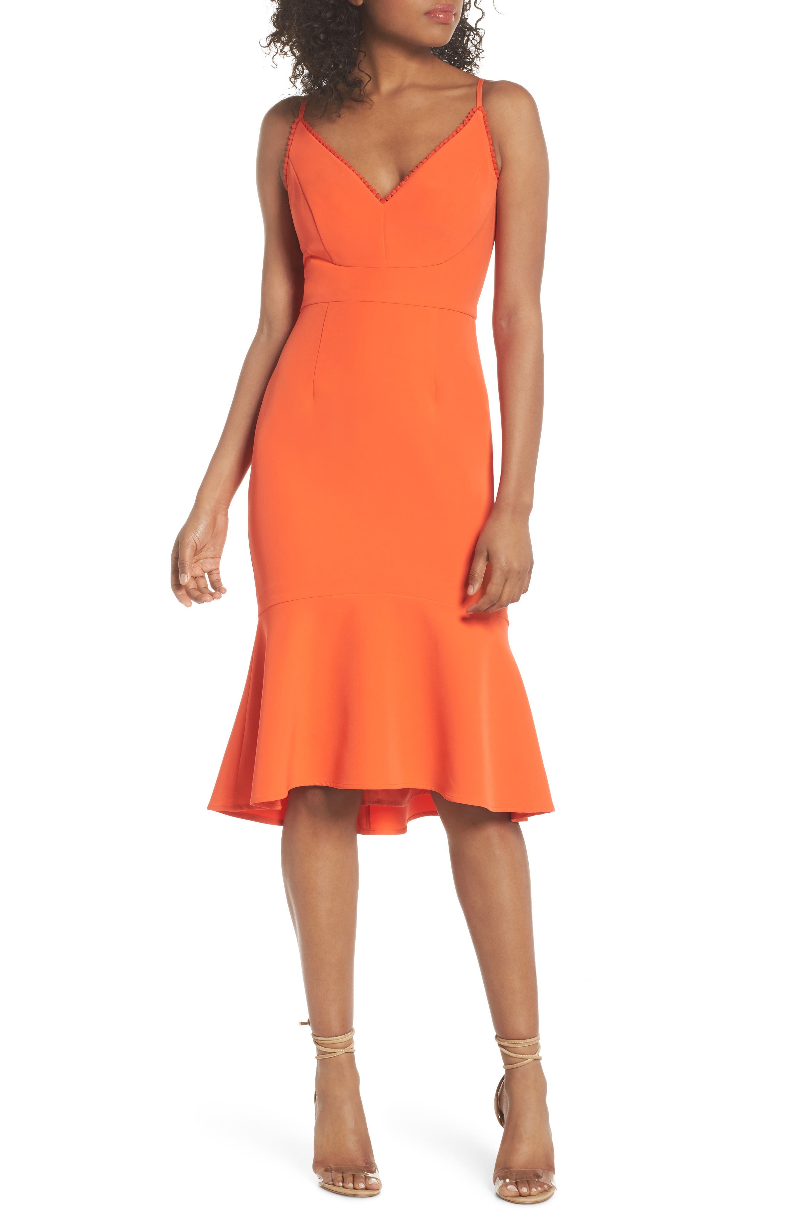 Flounce Hem Crepe Dress,                             Main thumbnail 1, color,
