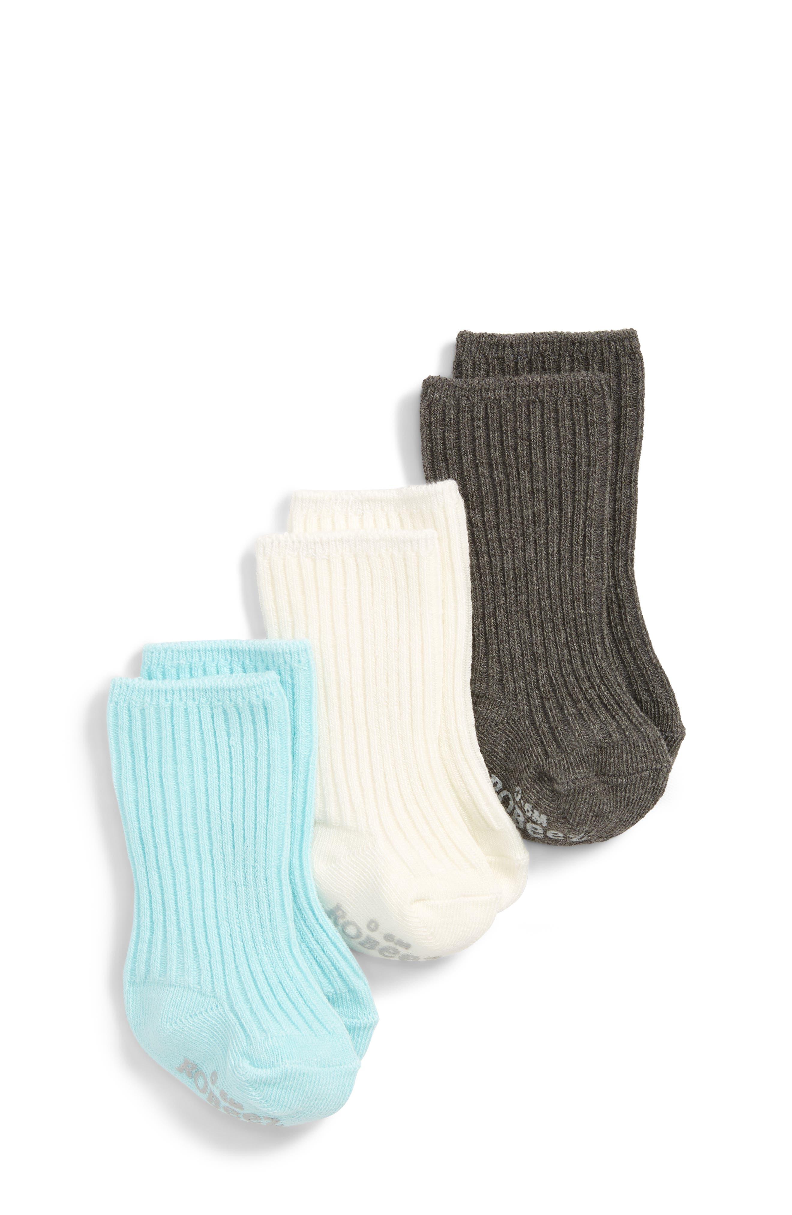 3-Pack Tabitha Basic Socks,                         Main,                         color, CREAM/ AQUA/ GREY