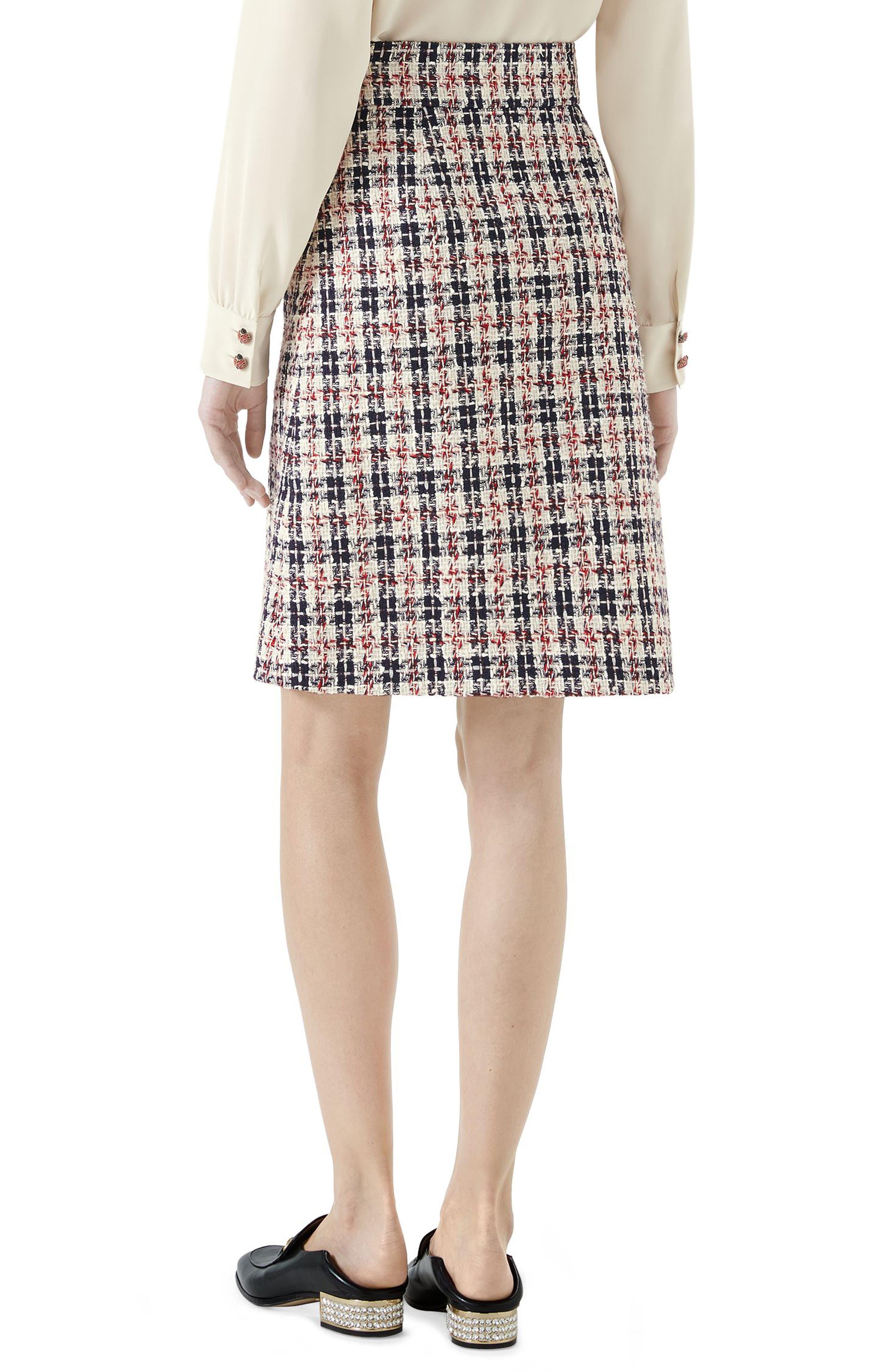 Tweed A-Line Skirt,                             Alternate thumbnail 2, color,                             GARDENIA/ INK