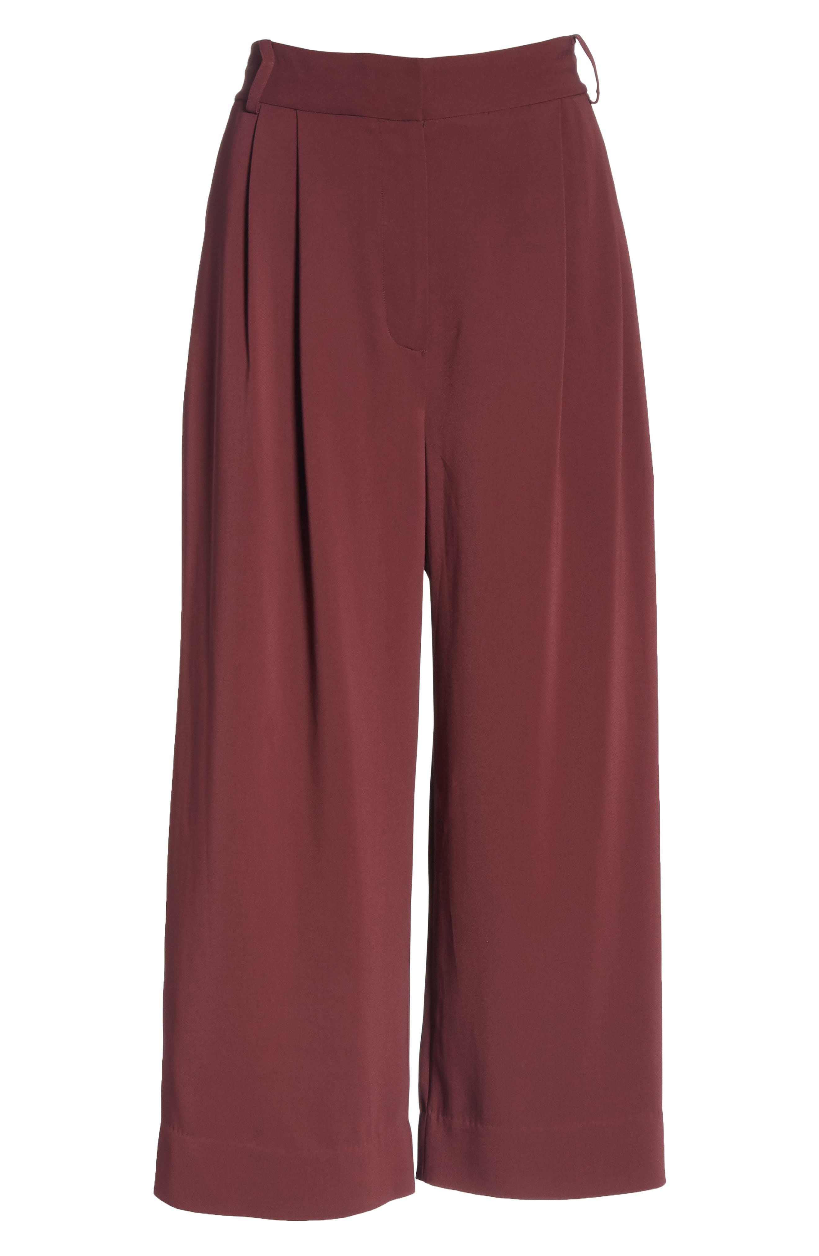 TIBI,                             Stella Stretch Suiting Crop Pants,                             Alternate thumbnail 7, color,                             DARK CURRANT