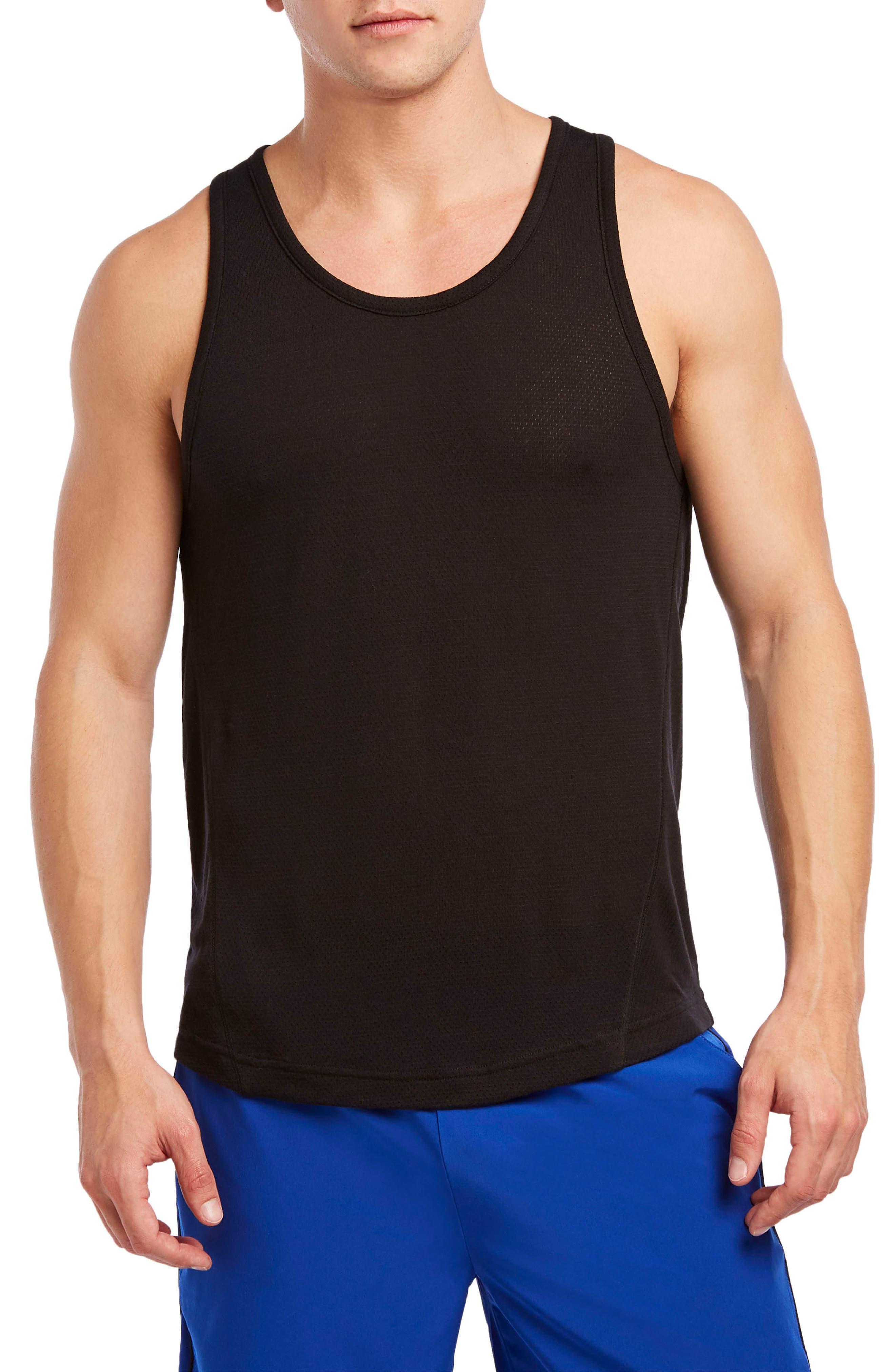 Mesh Muscle Tank,                         Main,                         color, BLACK