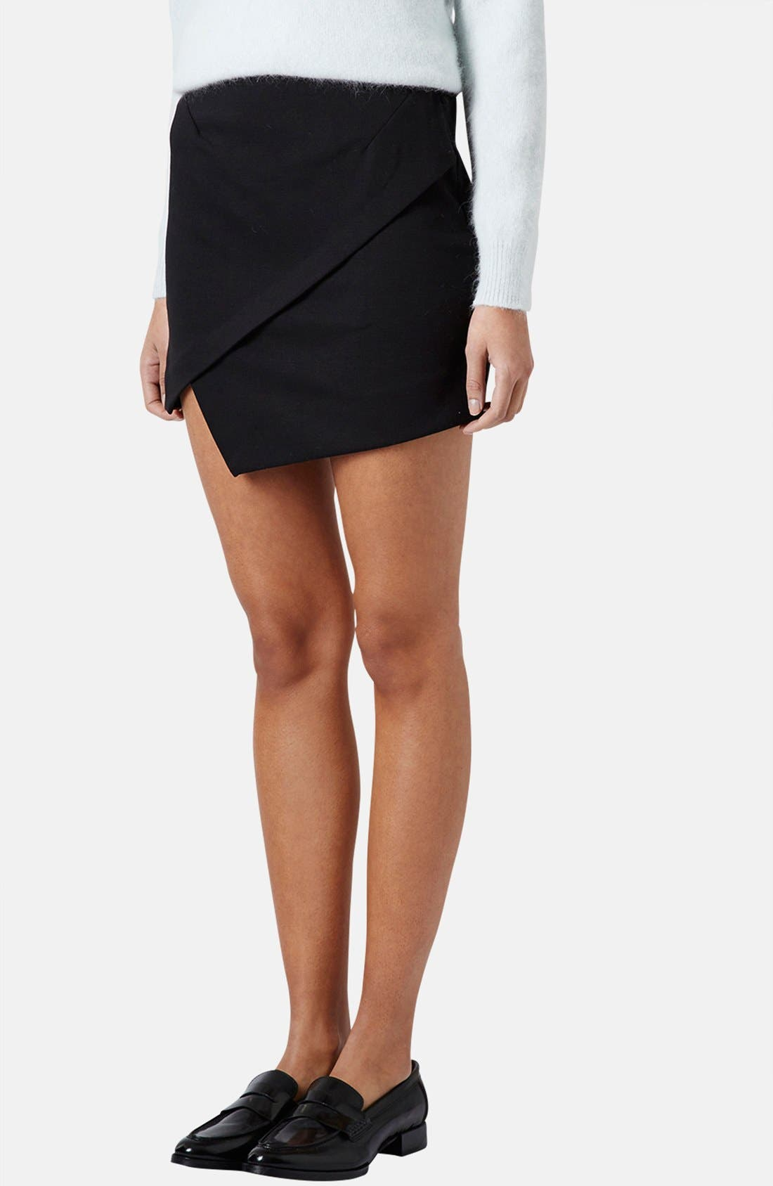 TOPSHOP Asymmetrical Miniskirt, Main, color, 001
