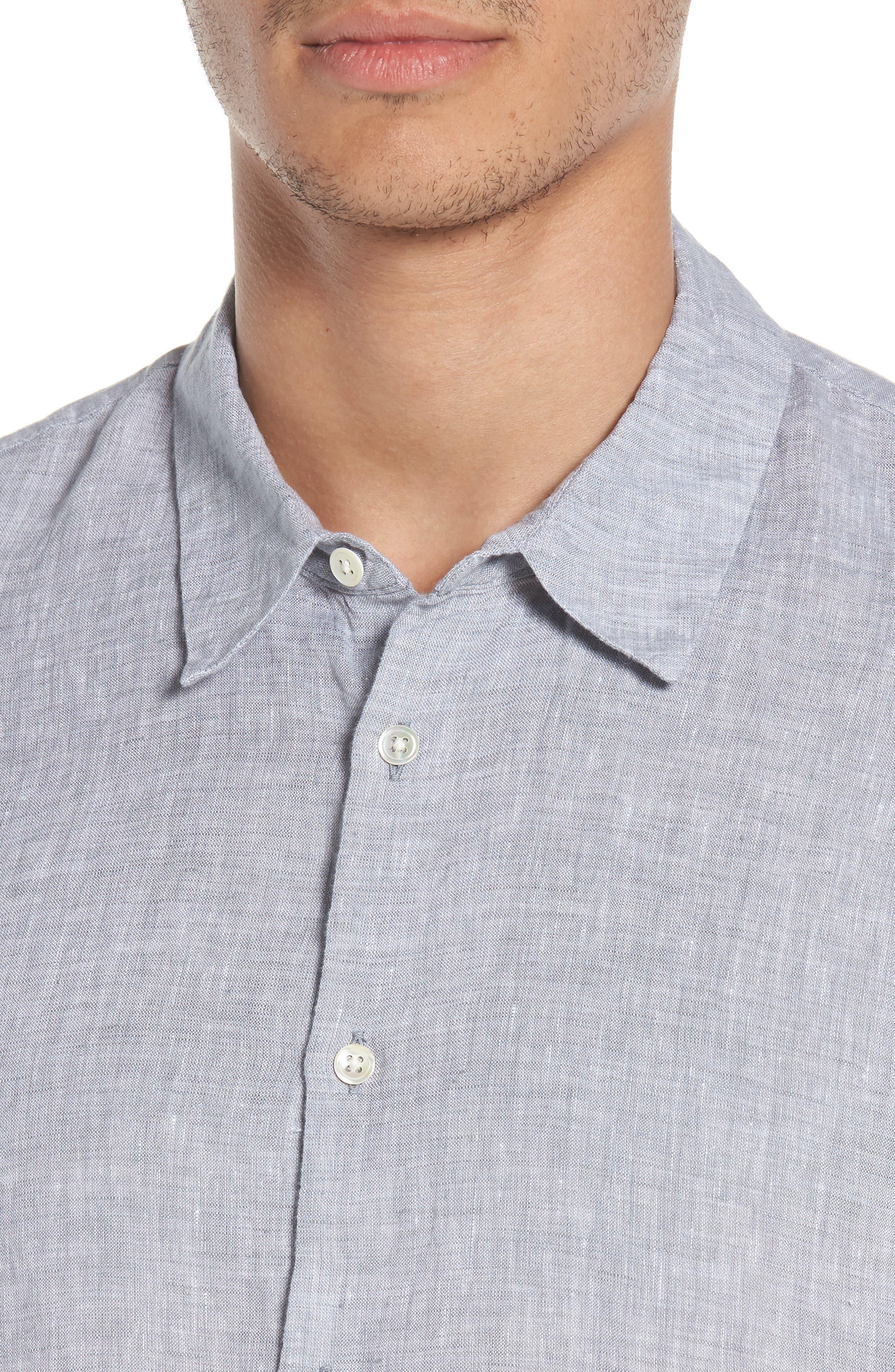 Slim Fit Linen Sport Shirt,                             Alternate thumbnail 4, color,                             020