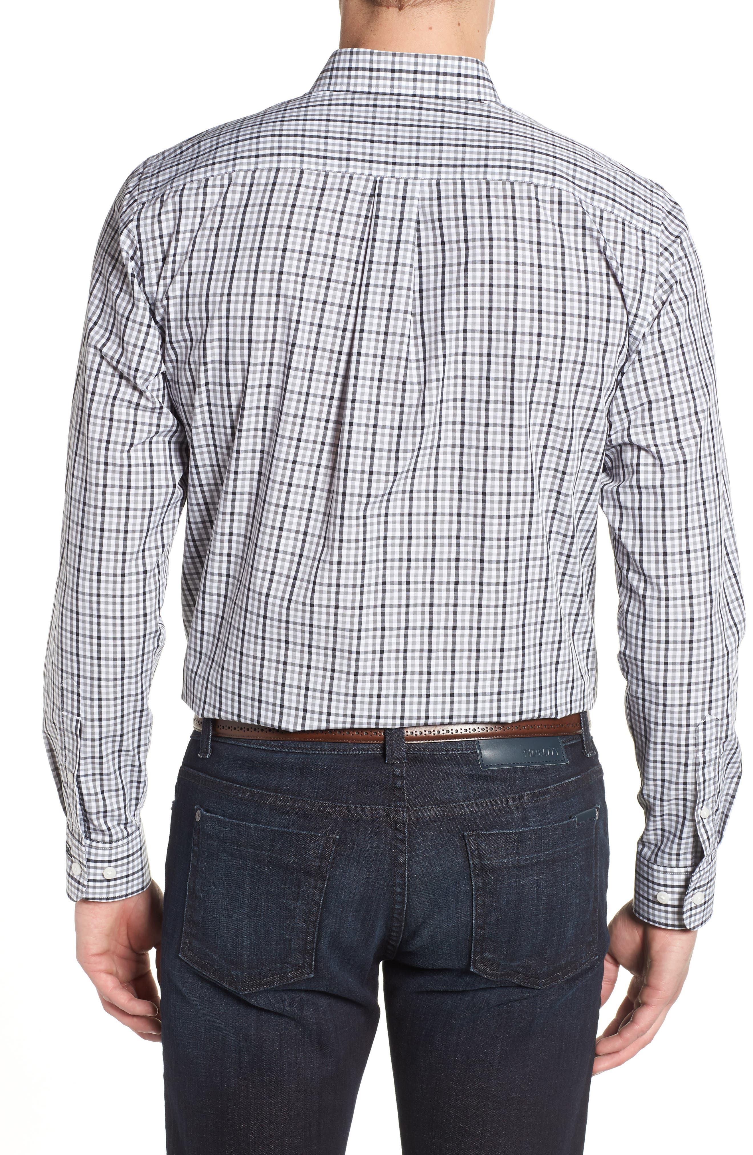 Tampa Bay Buccaneers - Gilman Regular Fit Plaid Sport Shirt,                             Alternate thumbnail 2, color,                             BLACK