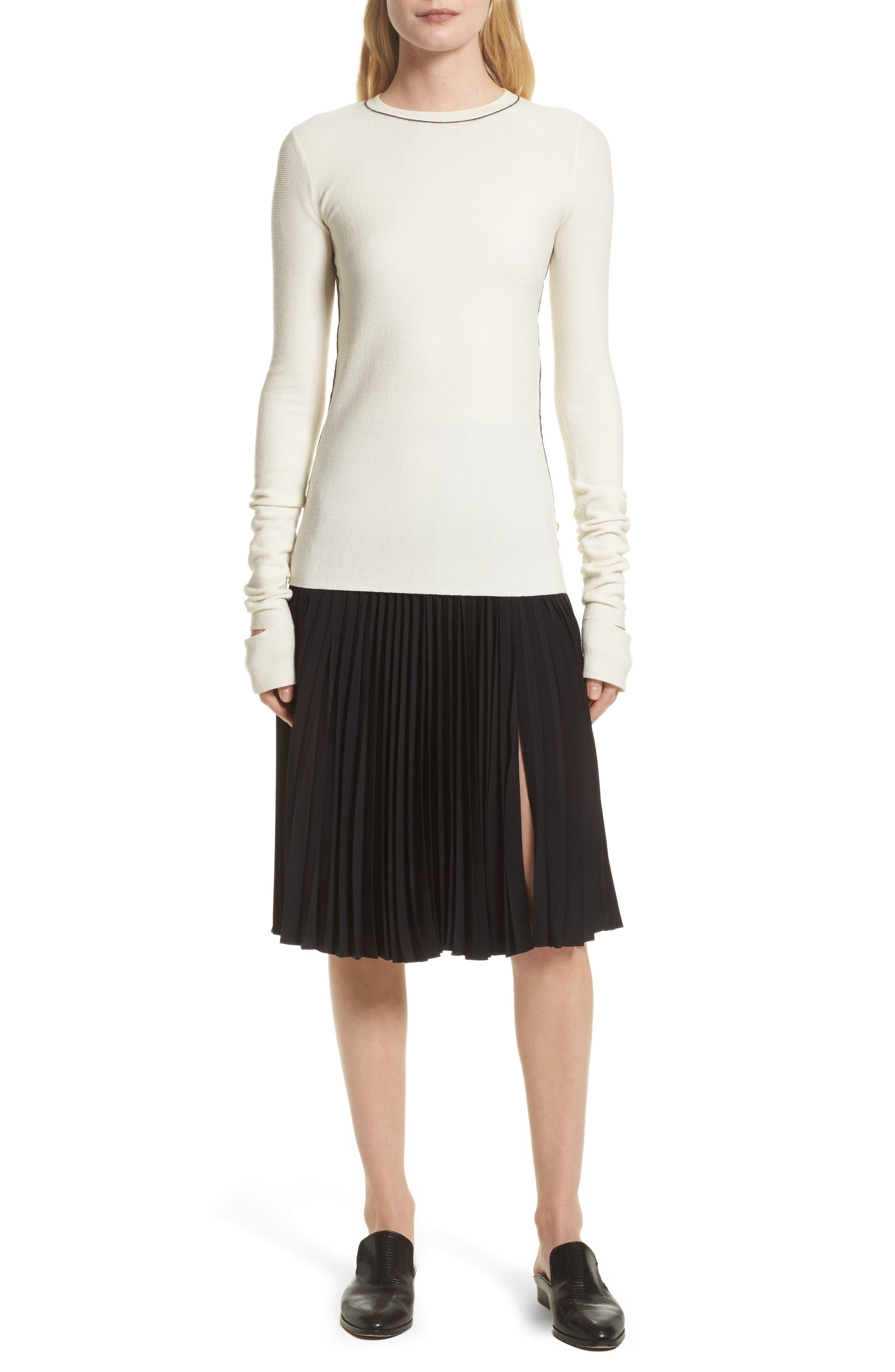 Gates Pleated Skirt,                             Alternate thumbnail 6, color,                             001