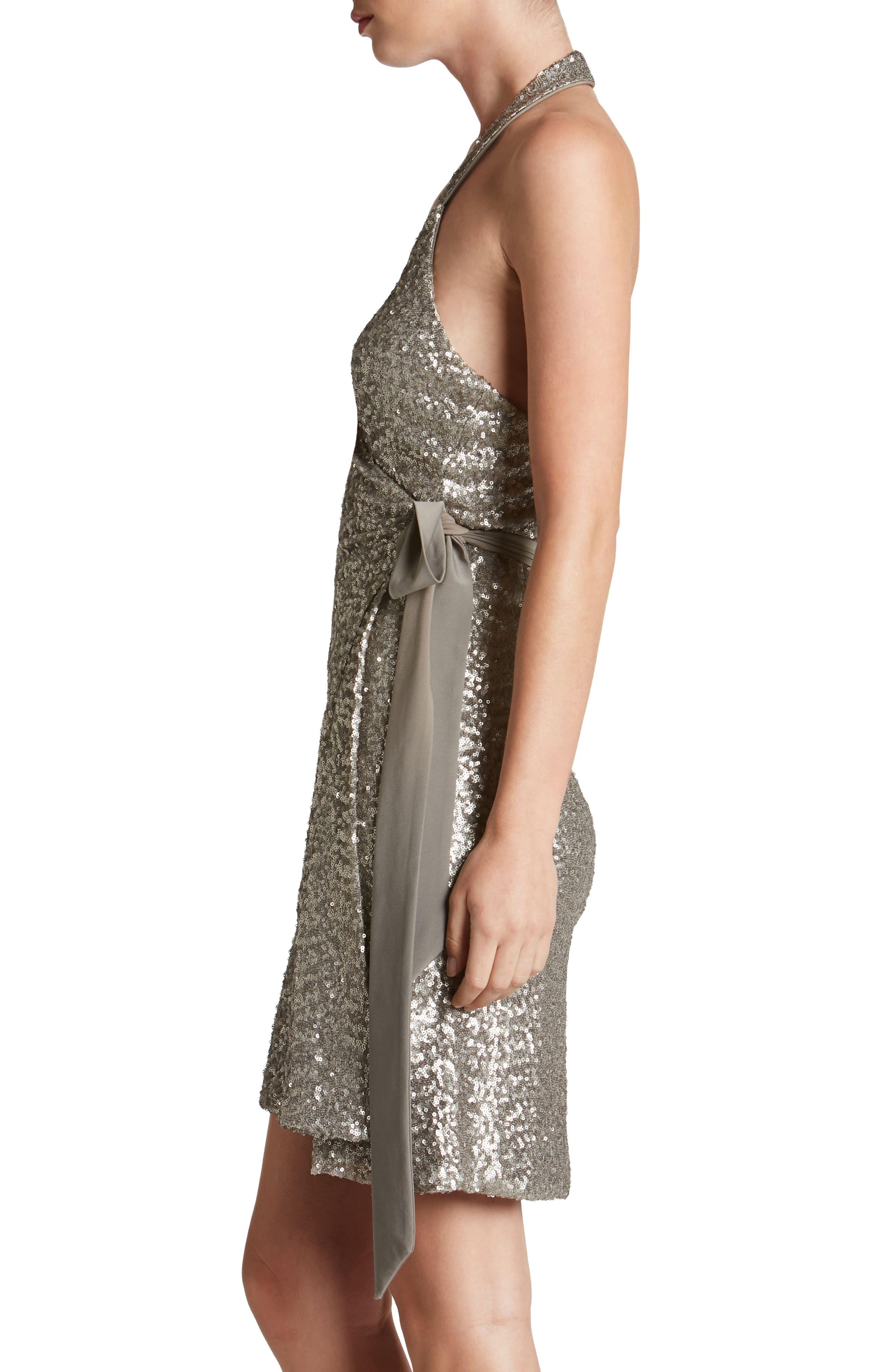 Danielle Sequin Wrap Mini Dress,                             Alternate thumbnail 8, color,