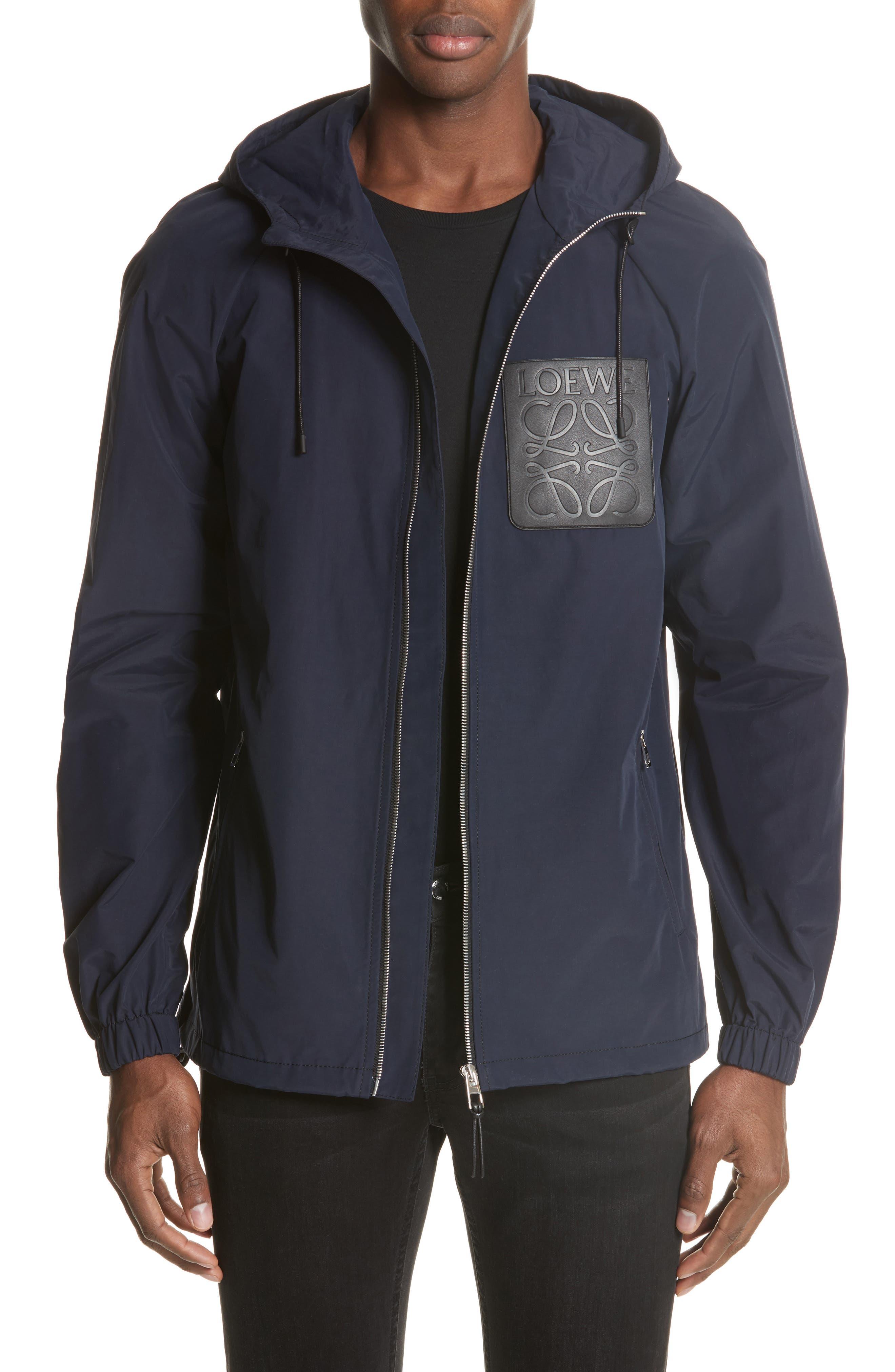 Zip Hooded Jacket,                         Main,                         color, NAVY BLUE