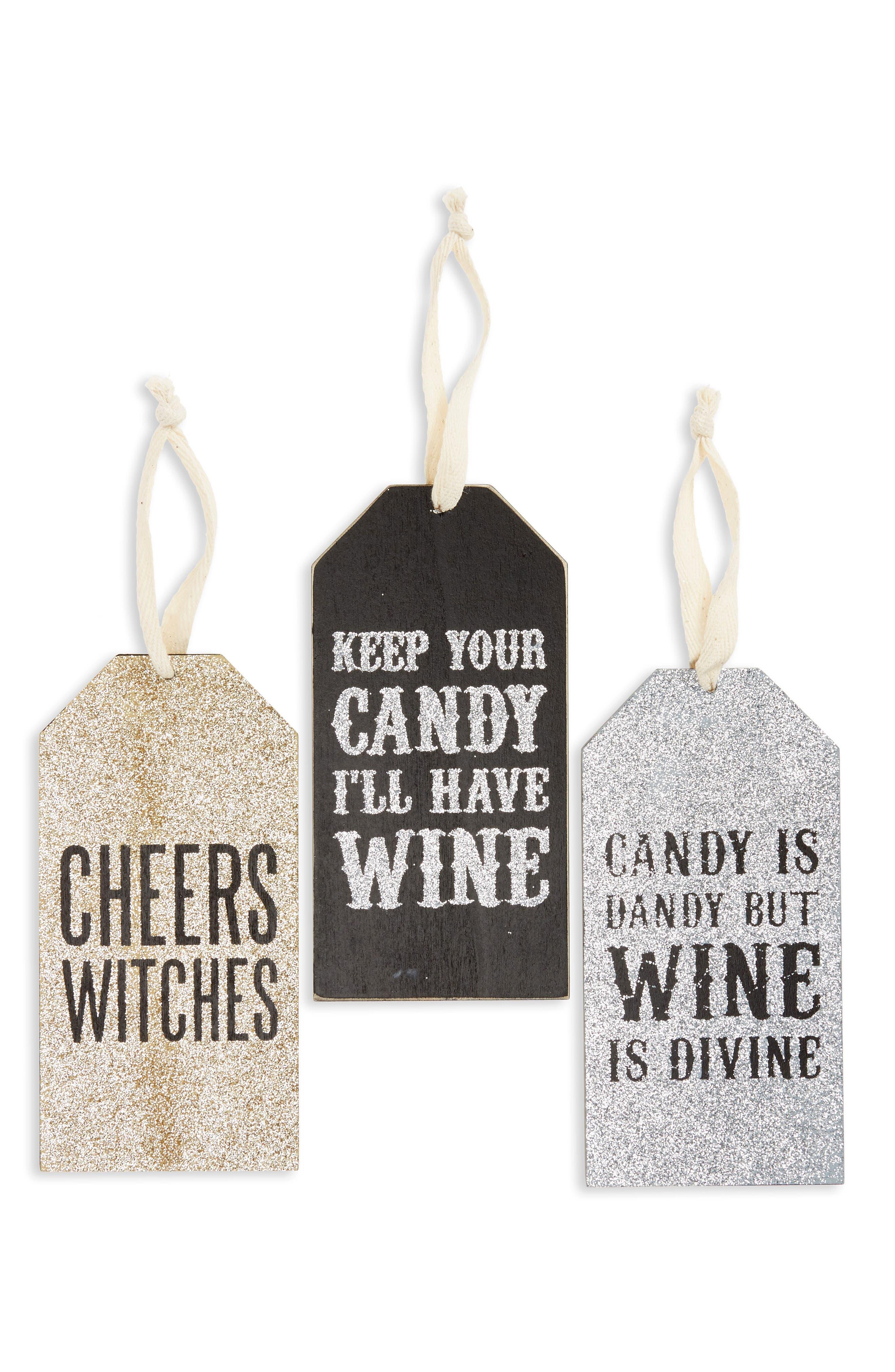 Halloween Set of 3 Wine Bottle Tags,                             Main thumbnail 1, color,                             001