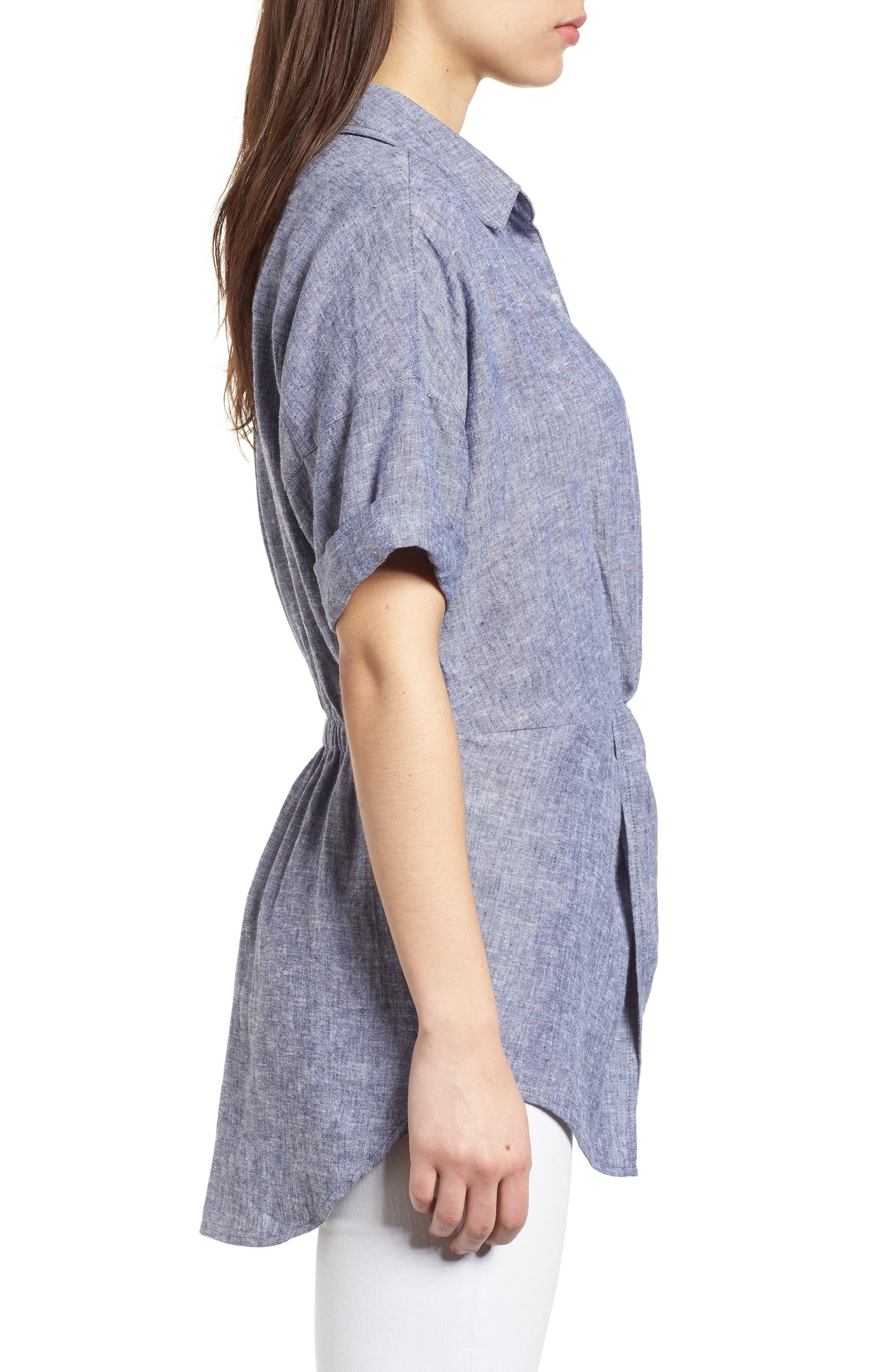 Twist Front Linen Blend Shirt,                             Alternate thumbnail 9, color,