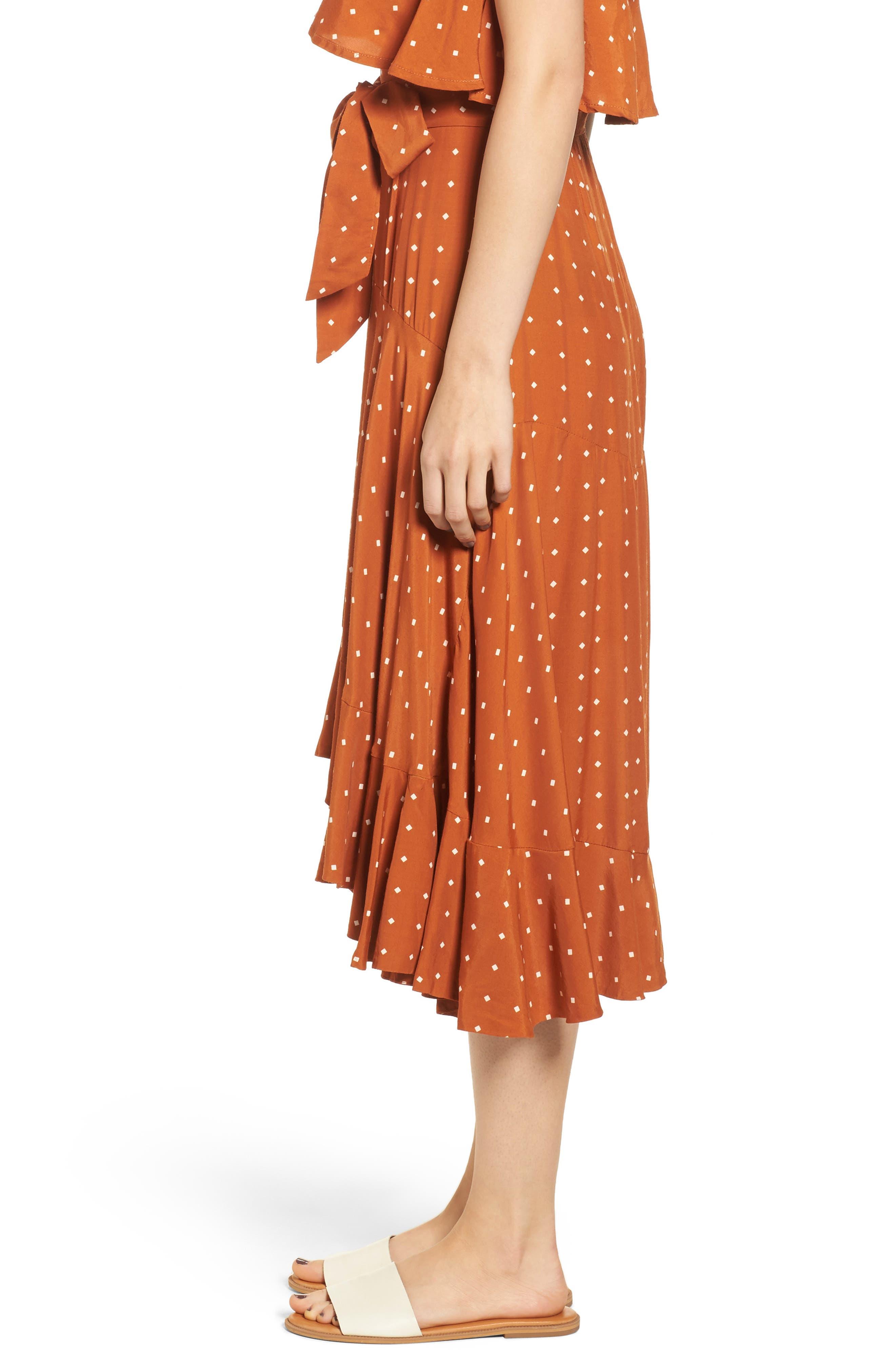 FAITHFULL THE BRAND,                             Kamares Polka Dot Midi Skirt,                             Alternate thumbnail 3, color,                             700