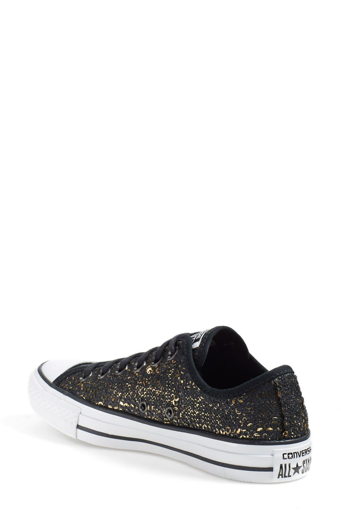 Chuck Taylor<sup>®</sup> All Star<sup>®</sup> 'Distressed Sequin Ox' Sneaker,                             Alternate thumbnail 4, color,                             001