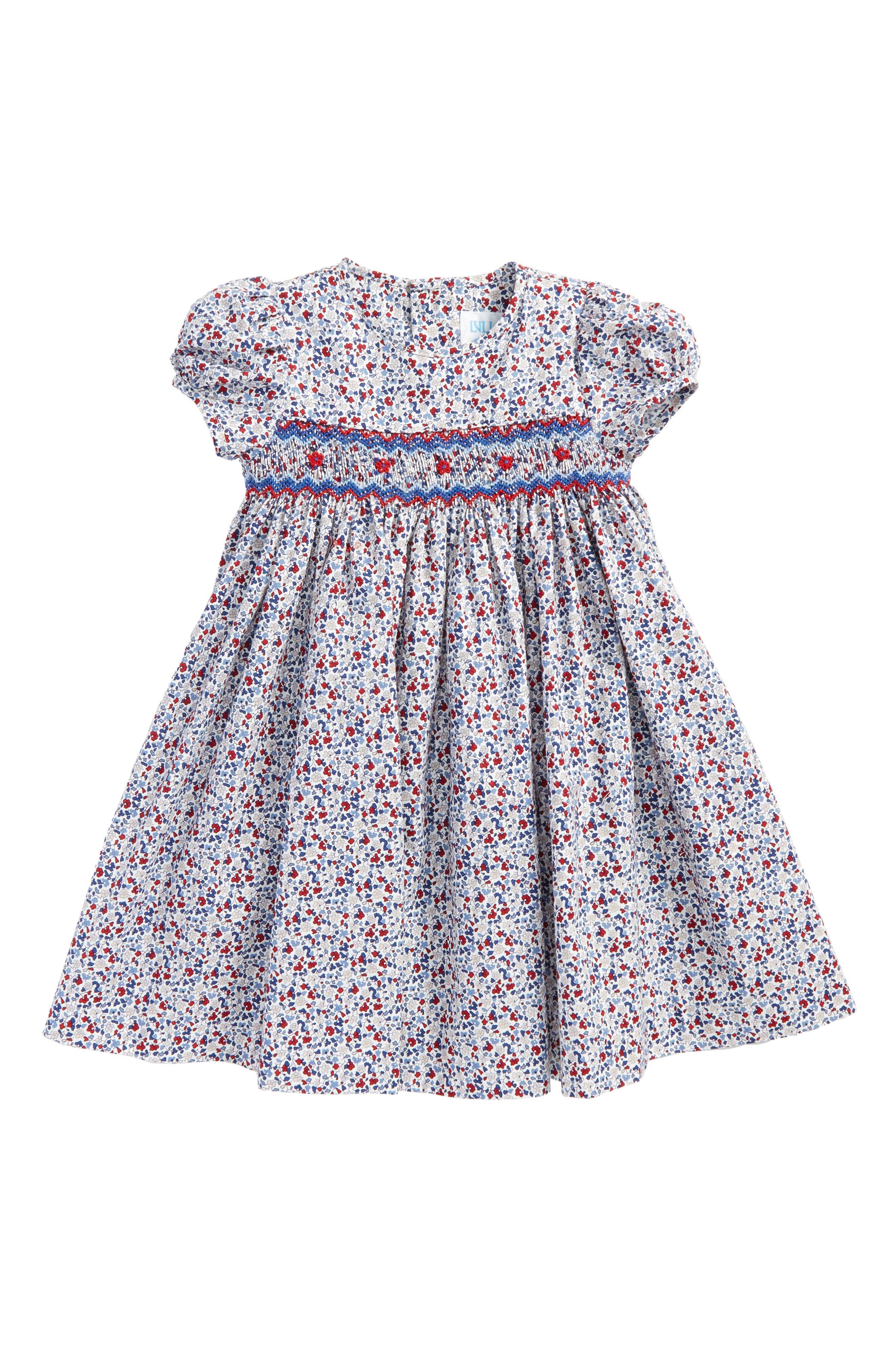 Floral Smocked Dress,                         Main,                         color, 600