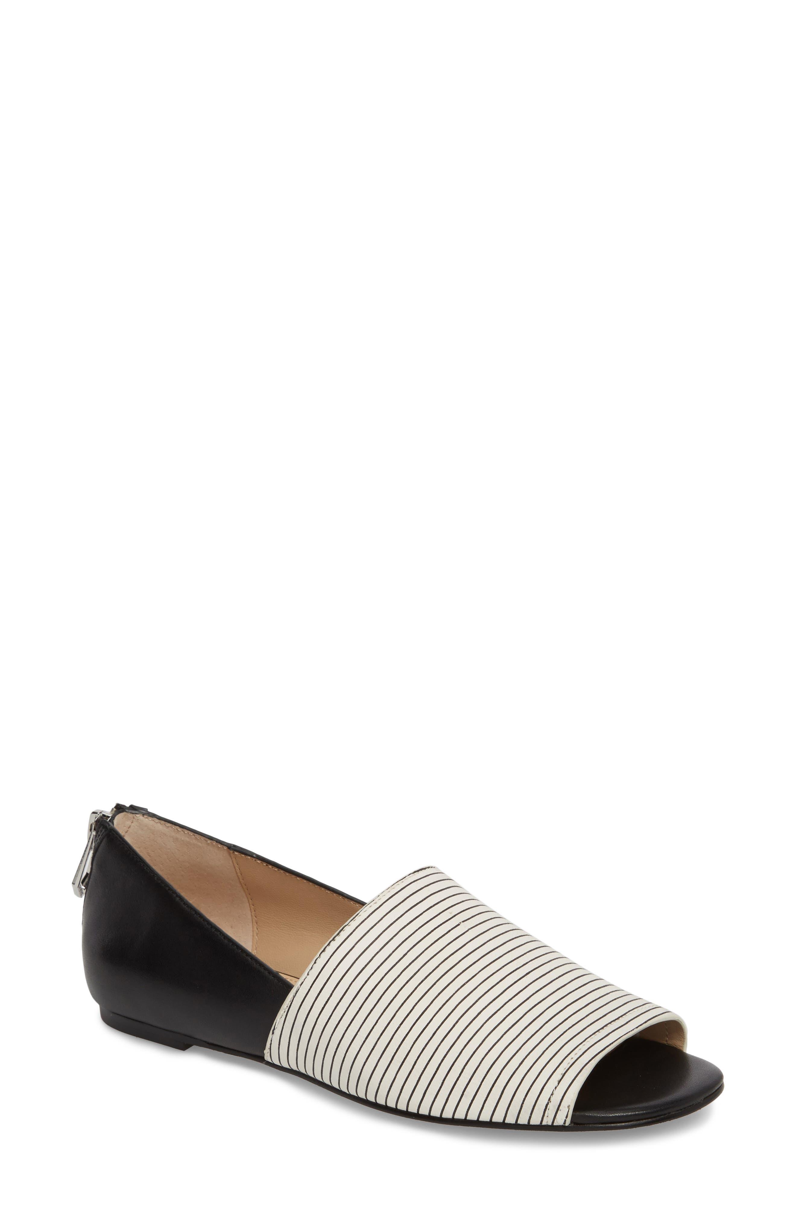 Maxine Peep Toe Flat,                         Main,                         color, 003