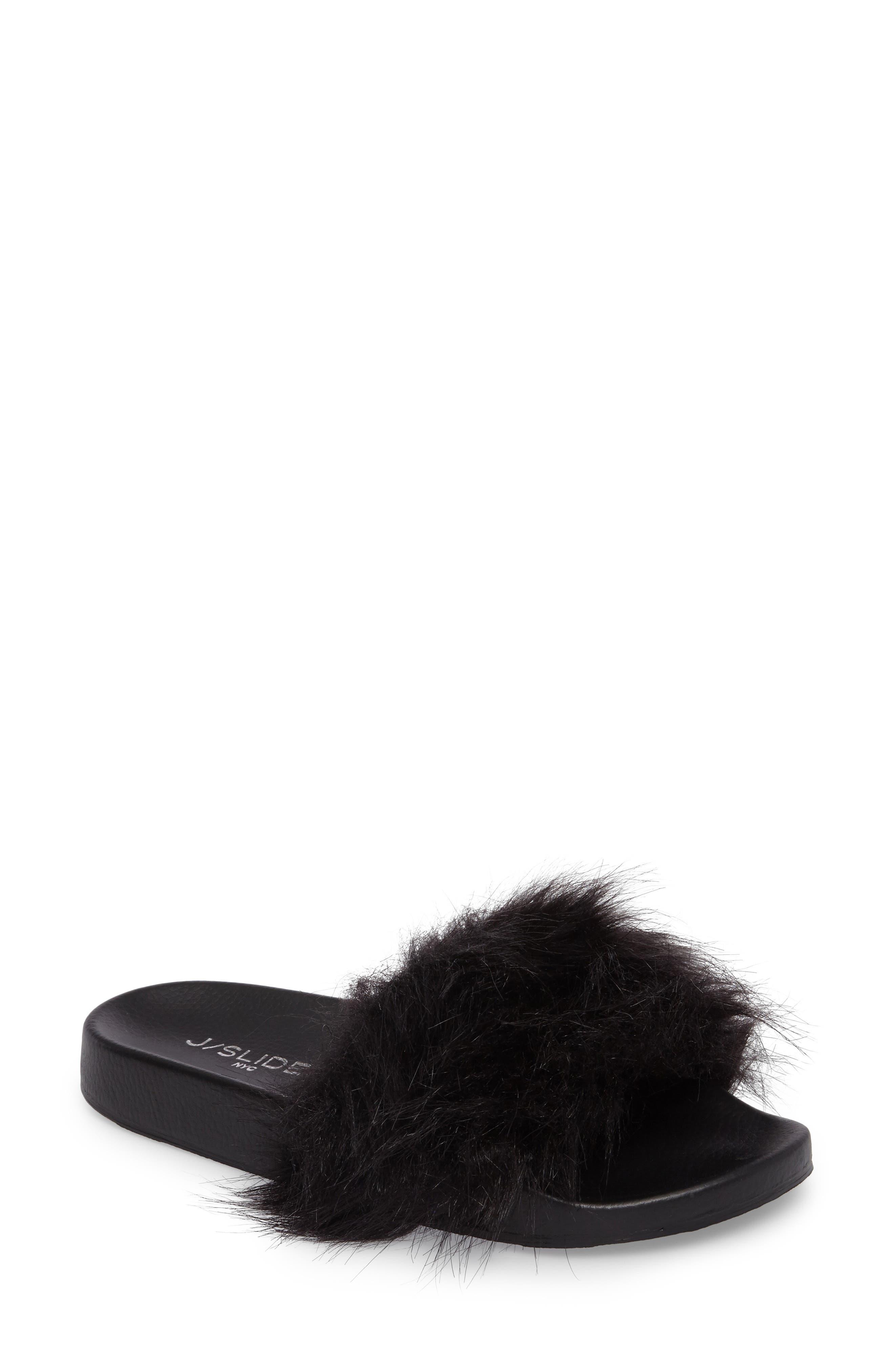 Sophie Faux Fur Slide Sandal,                         Main,                         color, 001