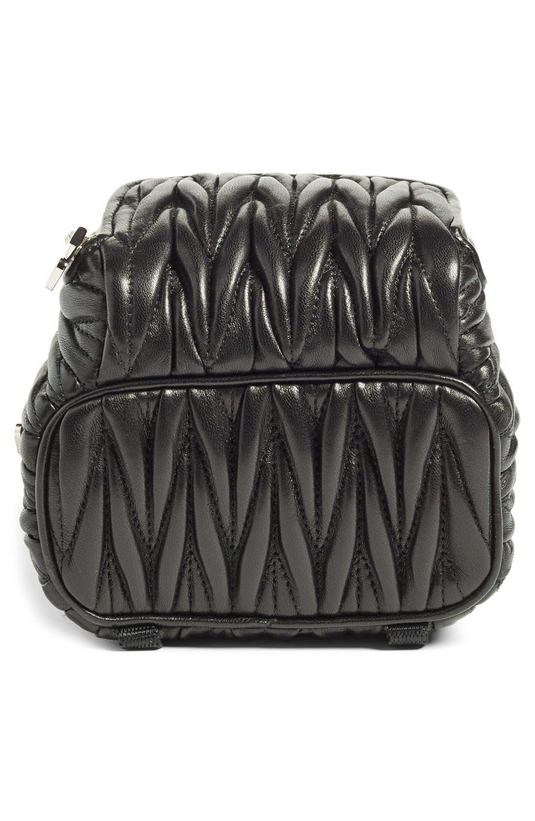 Micro Matelassé Leather Backpack,                             Alternate thumbnail 6, color,                             001