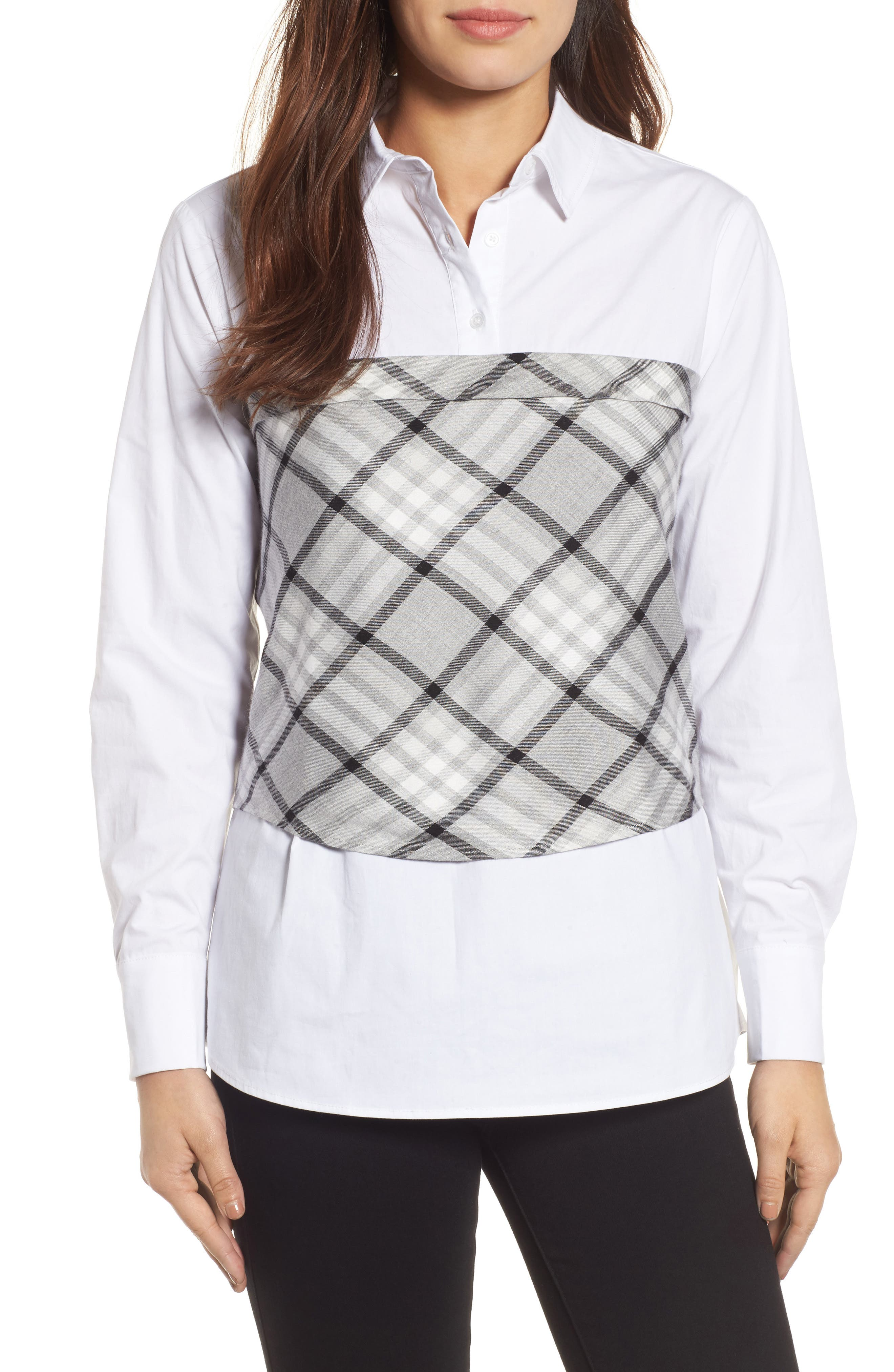 Plaid Corset Shirt,                         Main,                         color,