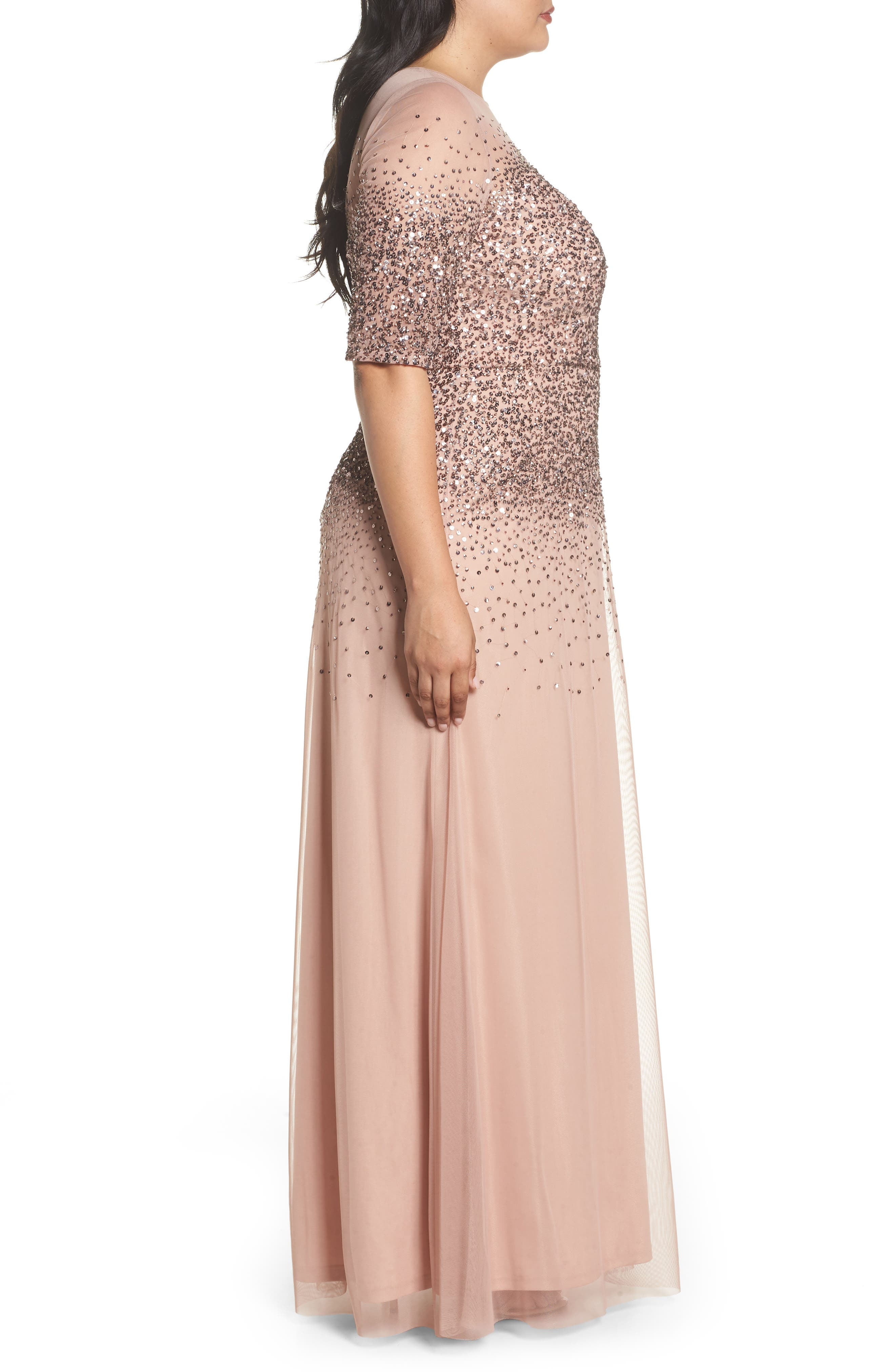 Beaded Illusion Gown,                             Alternate thumbnail 3, color,                             ROSE GOLD