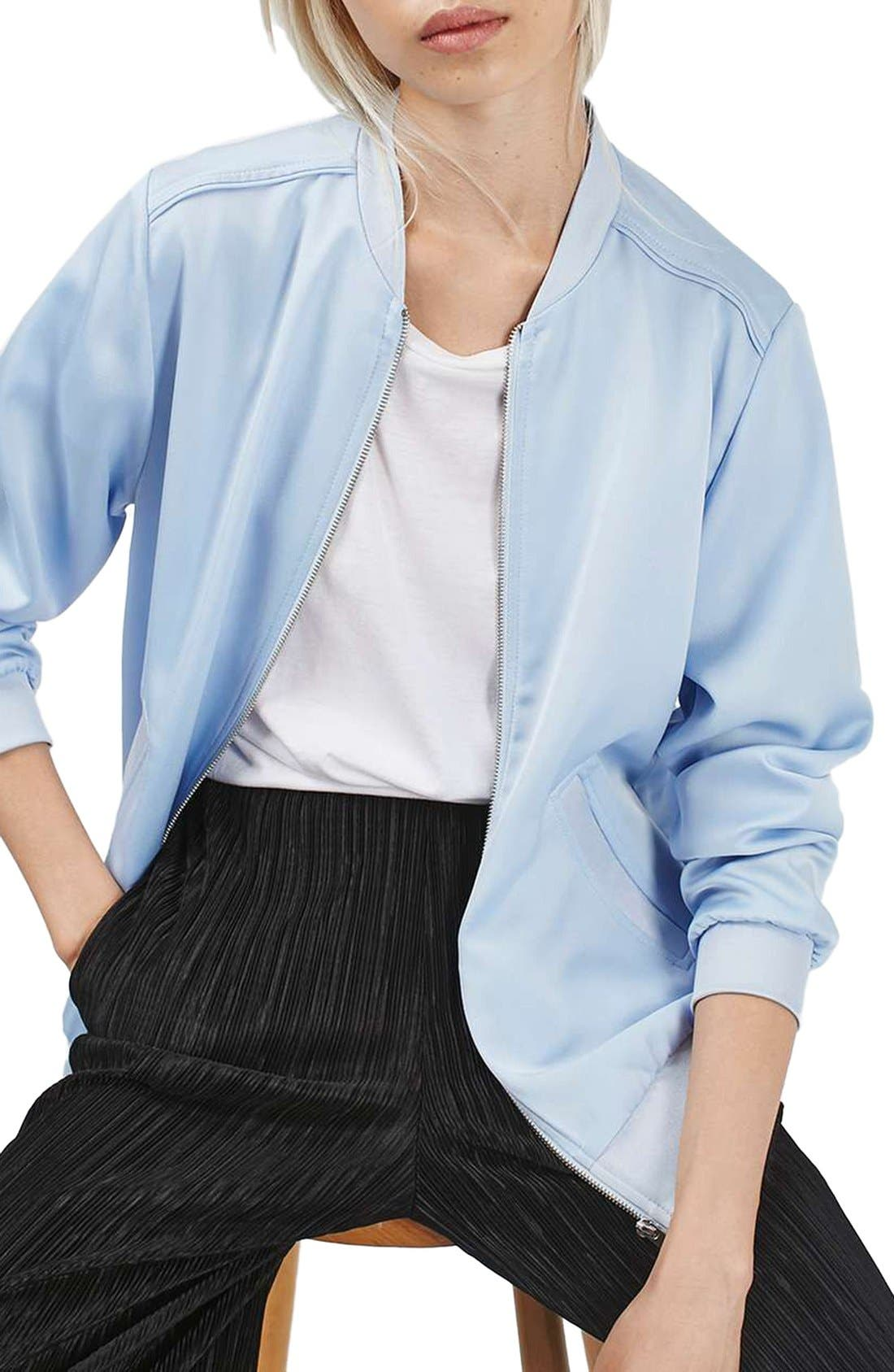 Satin Bomber Jacket,                             Main thumbnail 5, color,