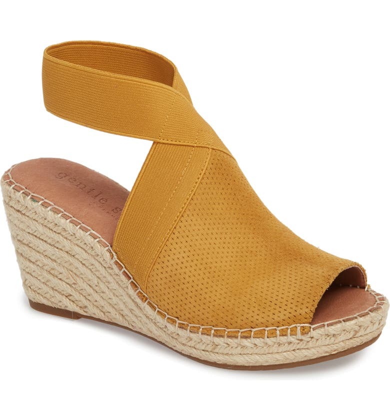 GENTLE SOULS SIGNATURE Gentle Souls by Kenneth Cole Colleen Espadrille Wedge, Main, color, MARIGOLD SUEDE