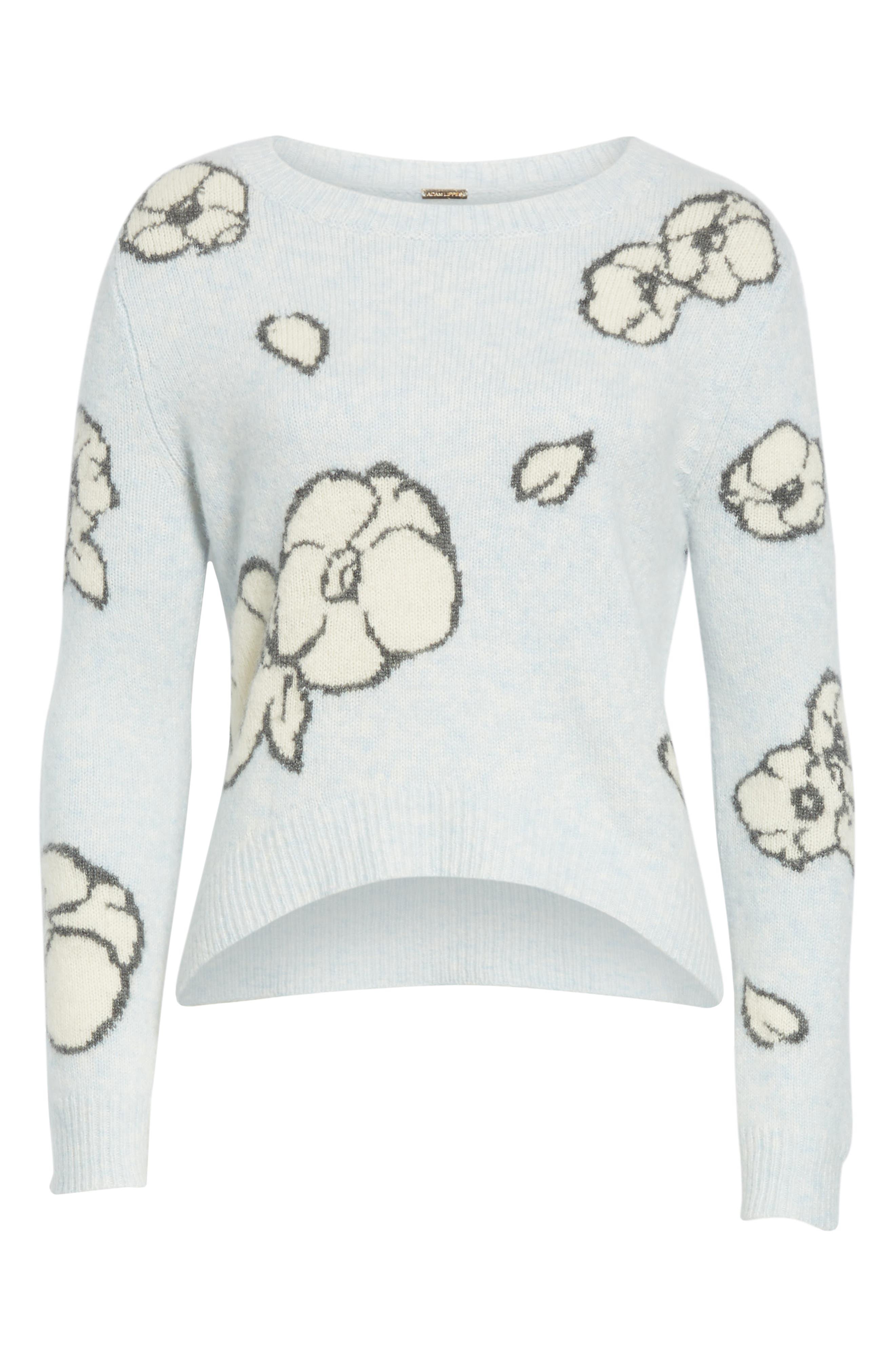 Intarsia Brushed Cashmere & Silk Sweater,                             Alternate thumbnail 7, color,                             ICE BLUE MULTI
